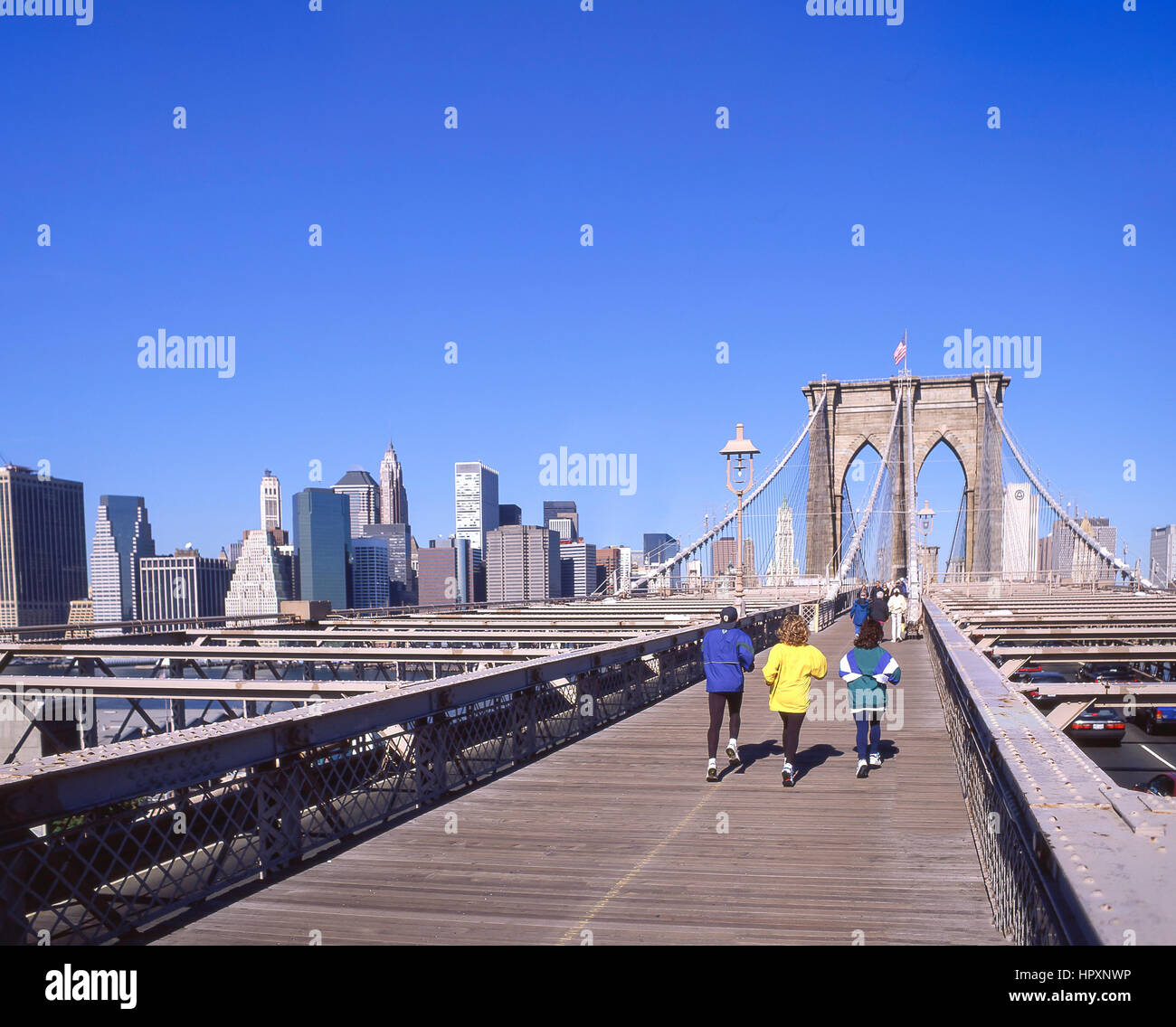 Pedestrian walkway over Brooklyn Bridge, Manhattan, New York, New York State, United States of America - Stock Image
