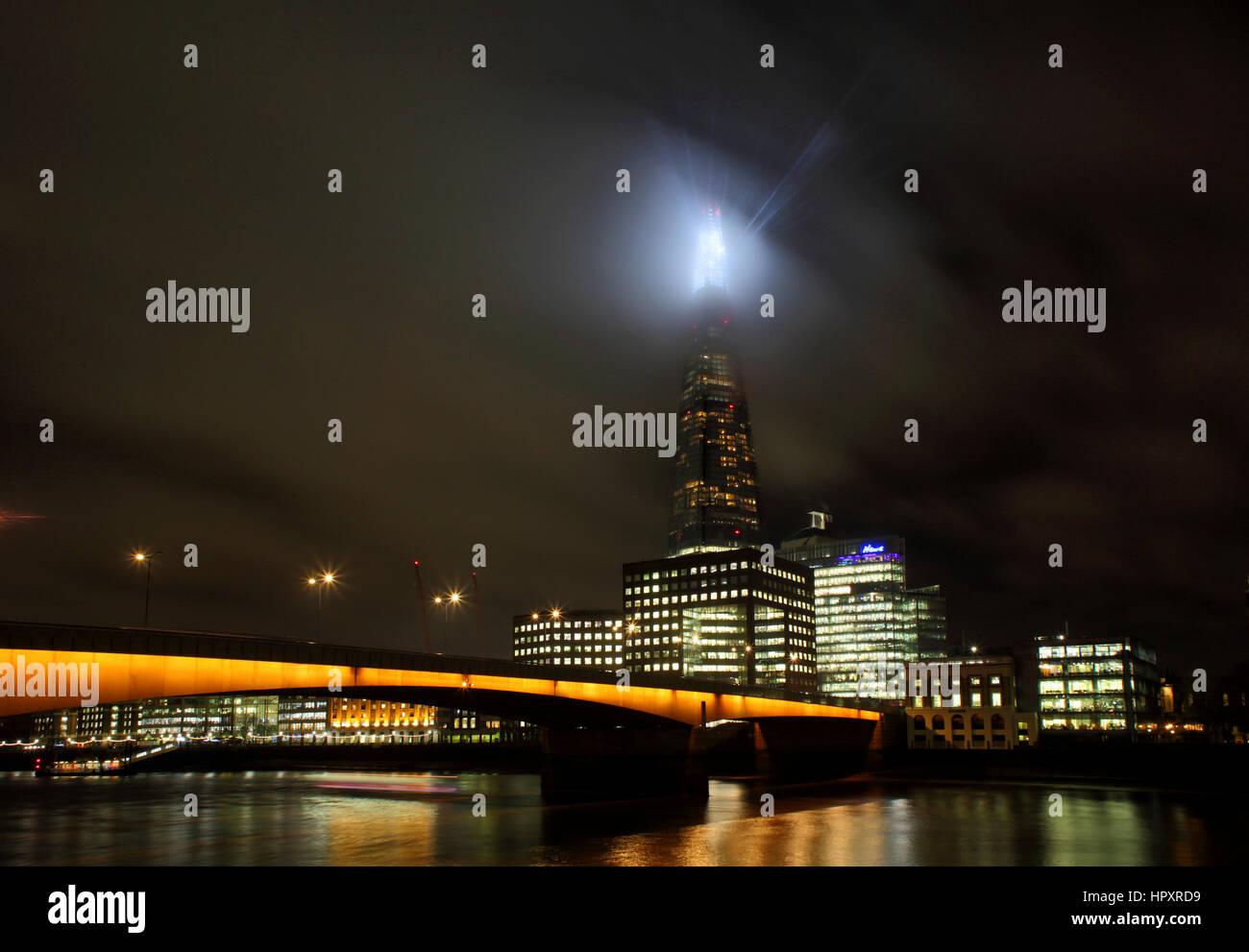 The Shard and New London Bridge at night, London, England. - Stock Image