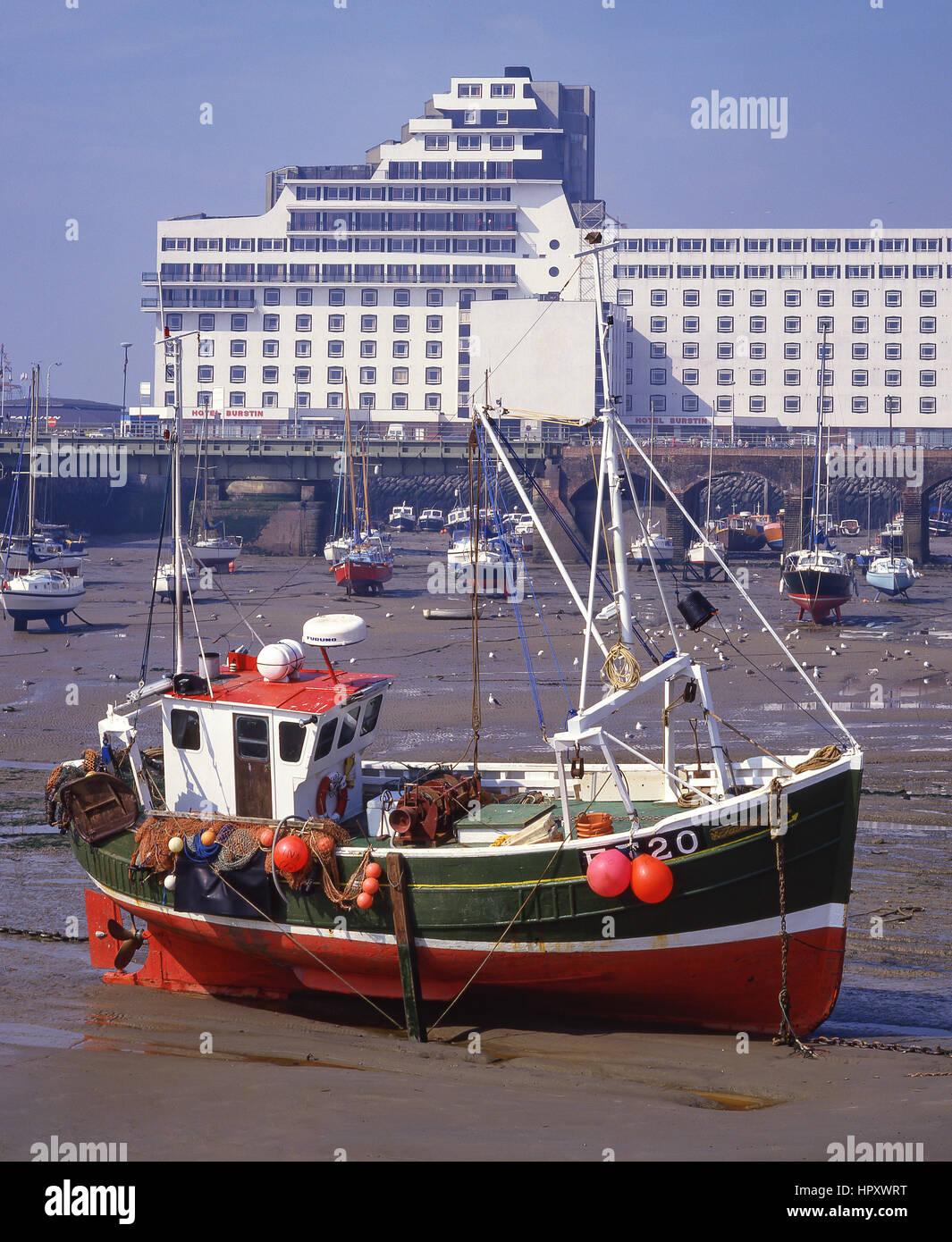 Grand Burstin Hotel from harbour, Folkestone, Kent, England, United Kingdom - Stock Image