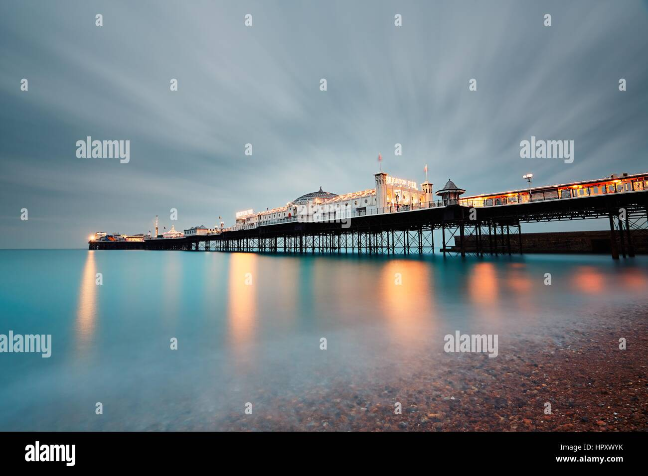 BRIGHTON, UK - OCTOBER 24, 2016: Brighton Marine Palace and Pier is popular tourist attraction, which opened in - Stock Image