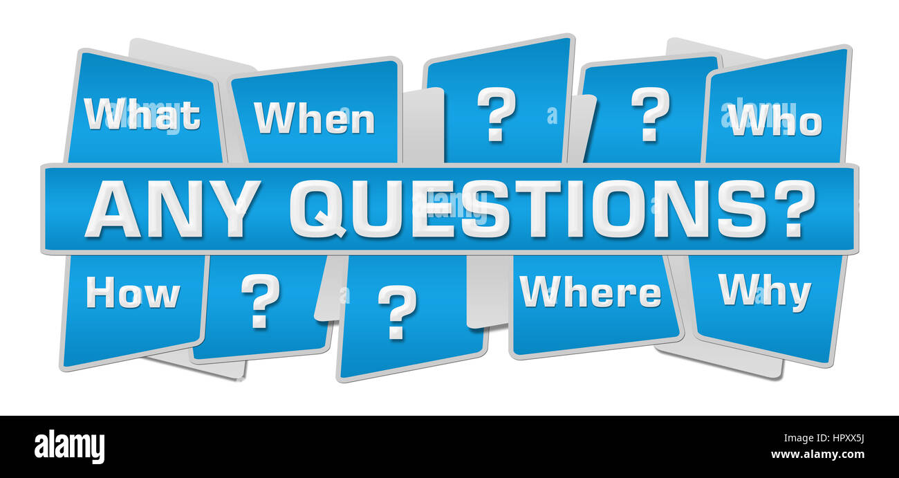 Any Questions Blue Squares Top Bottom - Stock Image