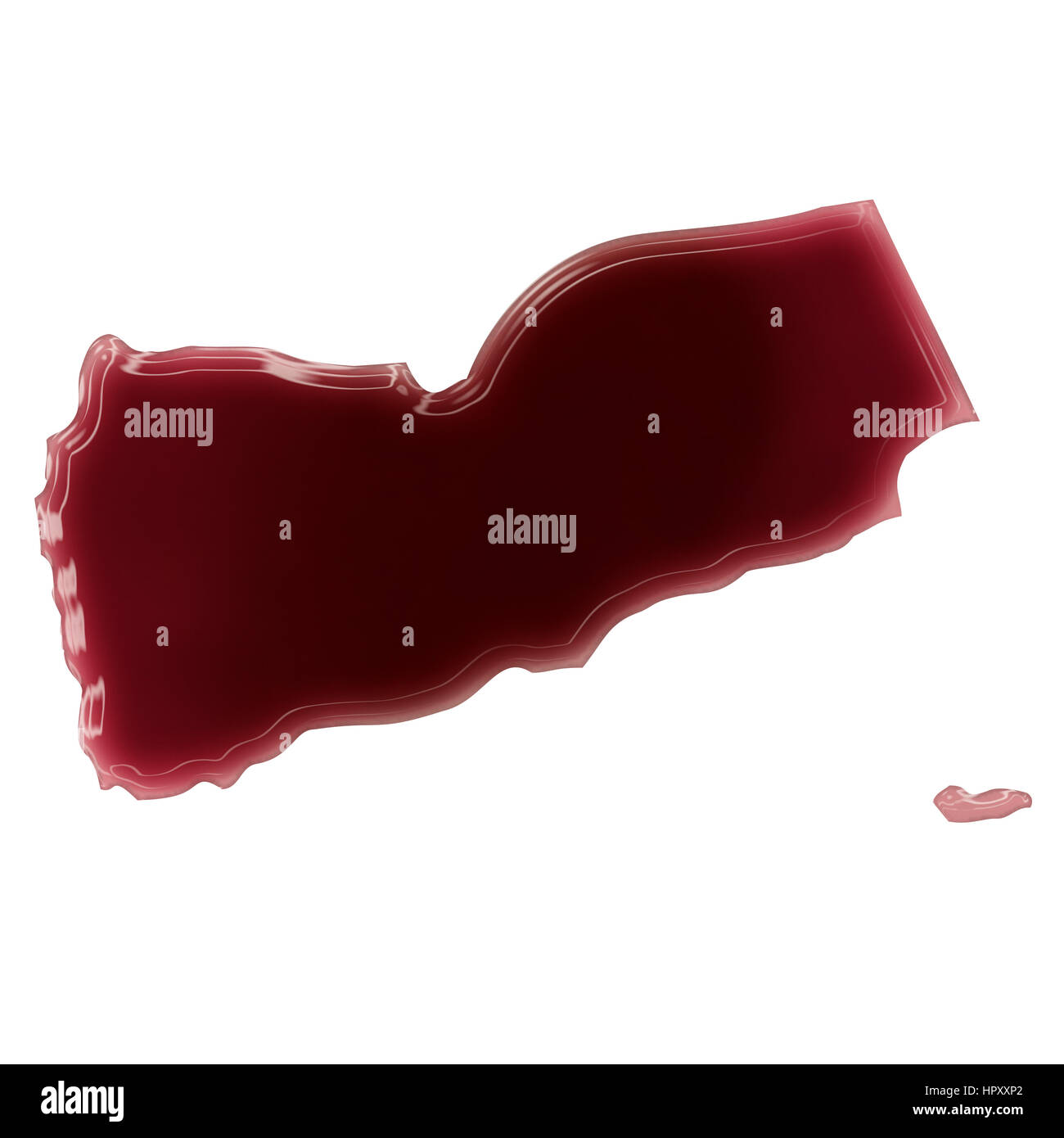 Pool of blood (or wine) that formed the shape of Yemen. (series) Stock Photo