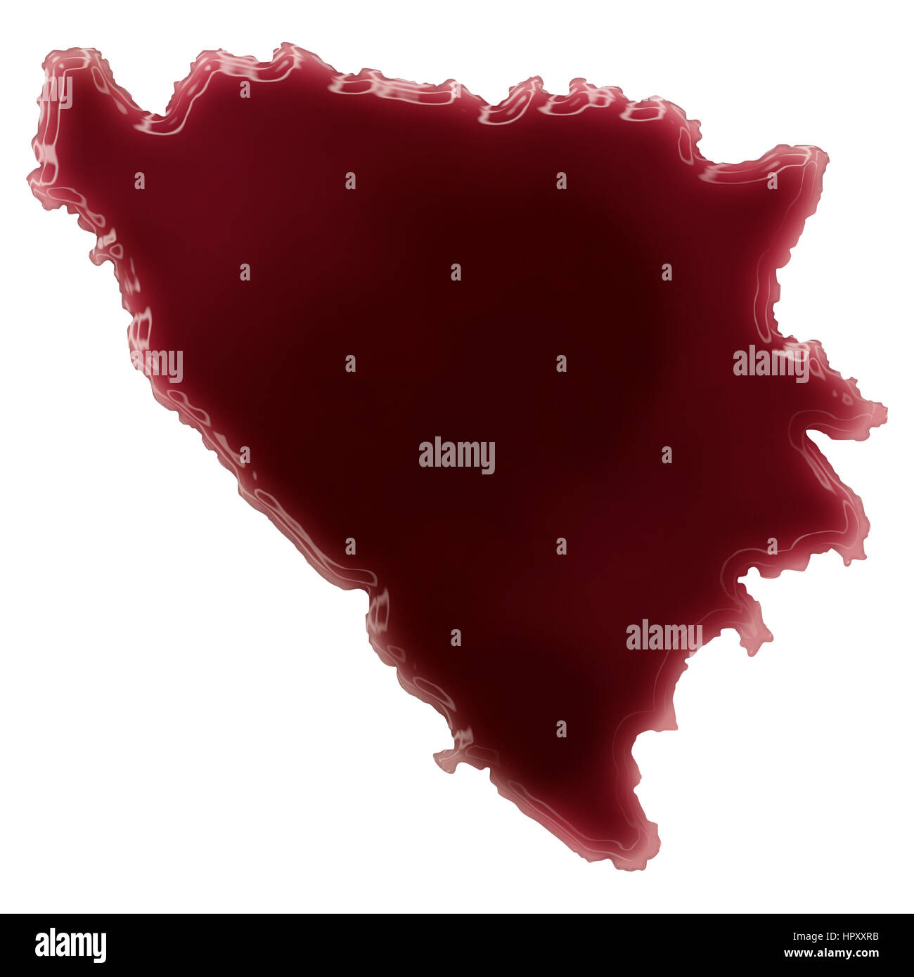 Pool of blood (or wine) that formed the shape of Bosnia and Herzegovina. (series) - Stock Image