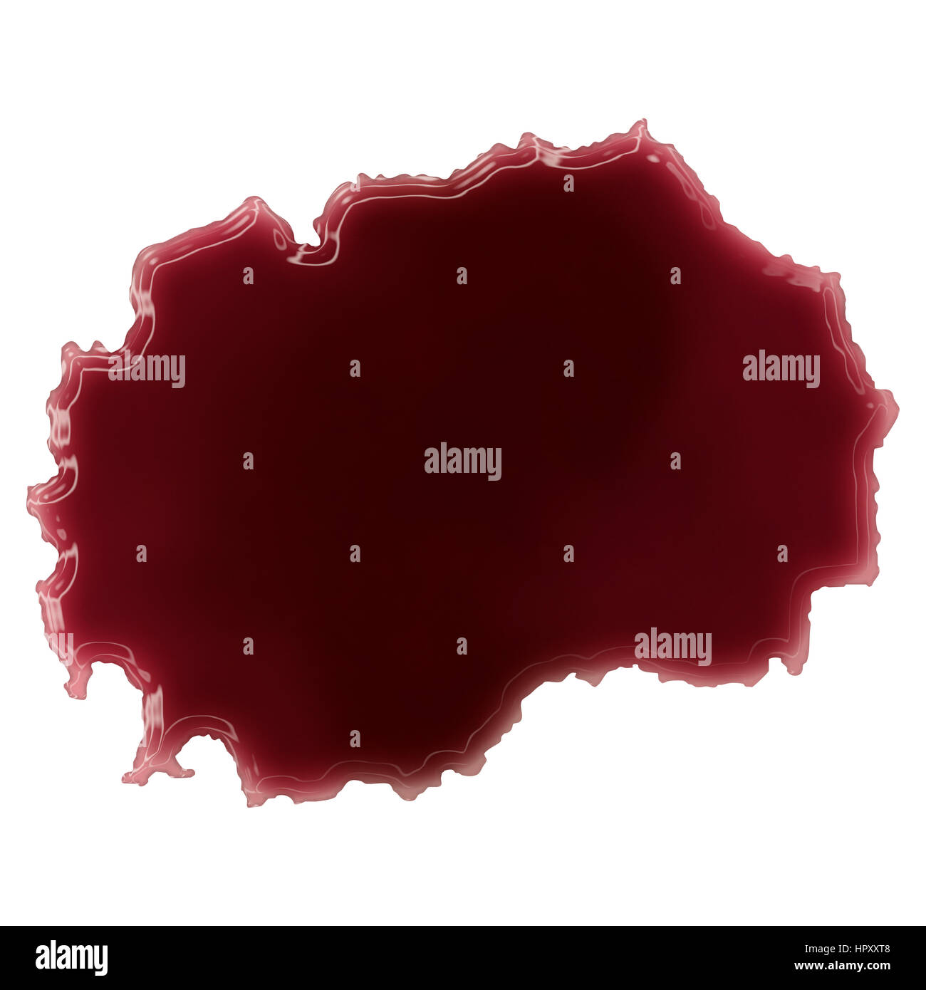 Pool of blood (or wine) that formed the shape of Macedonia. (series) - Stock Image
