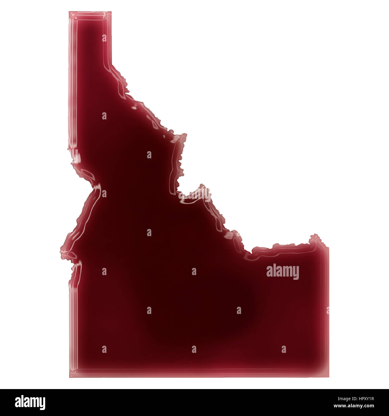 Pool of blood (or wine) that formed the shape of Idaho. (series) - Stock Image