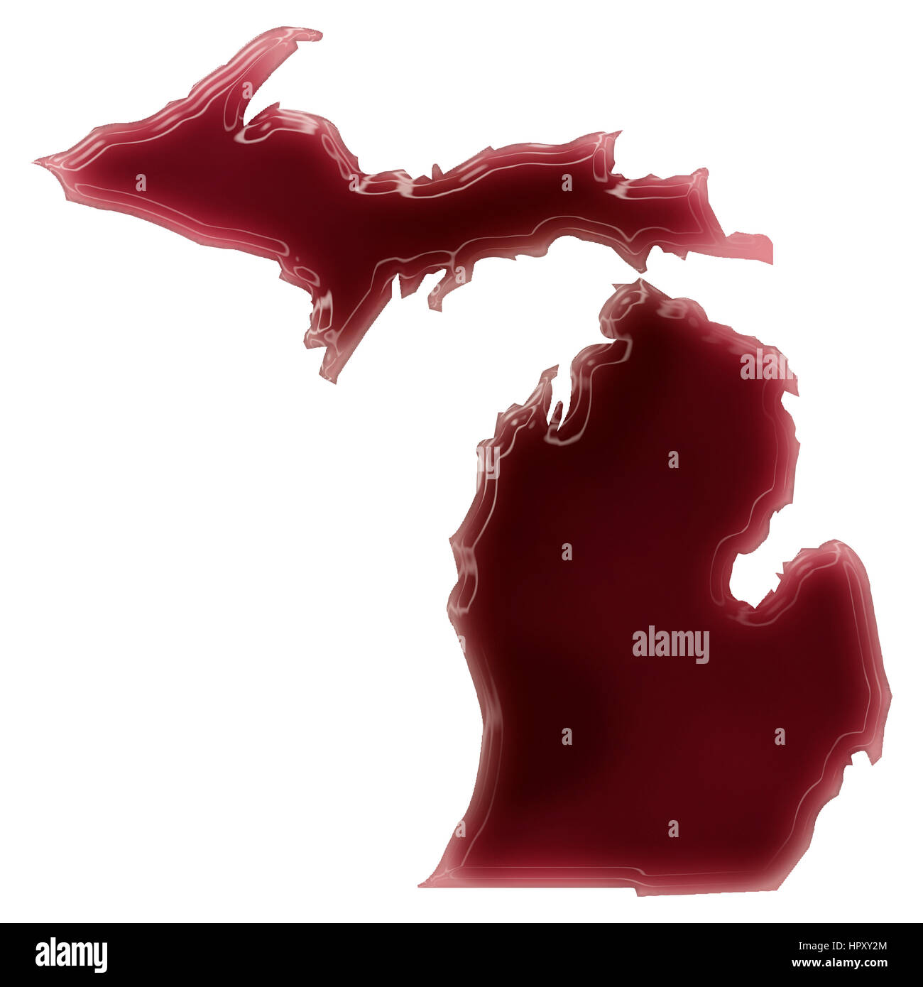 Outline Map State Michigan Map Stock Photos & Outline Map State ...