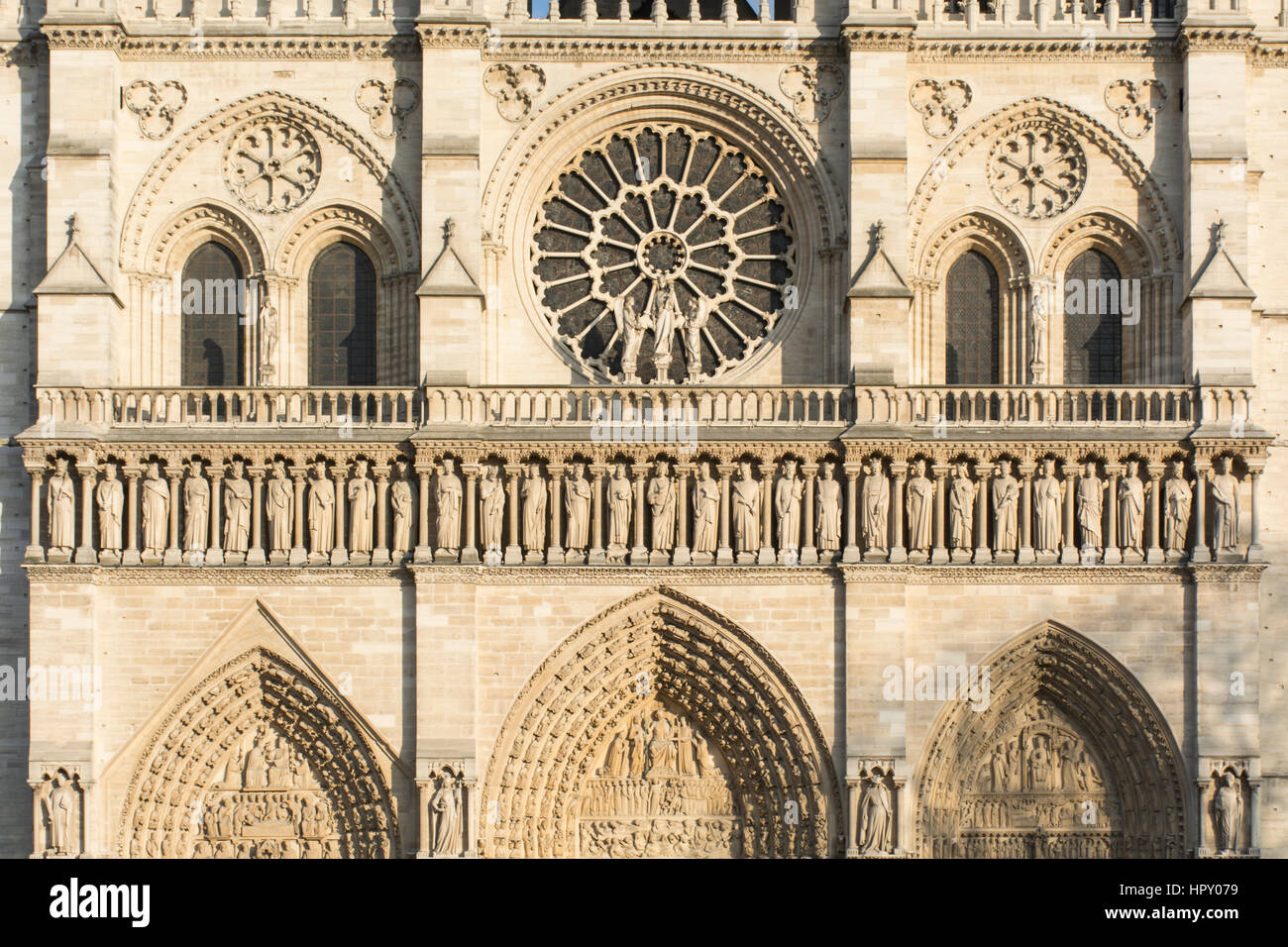 Notre Dame Cathedral, detail of the front facade. Paris, France Stock Photo