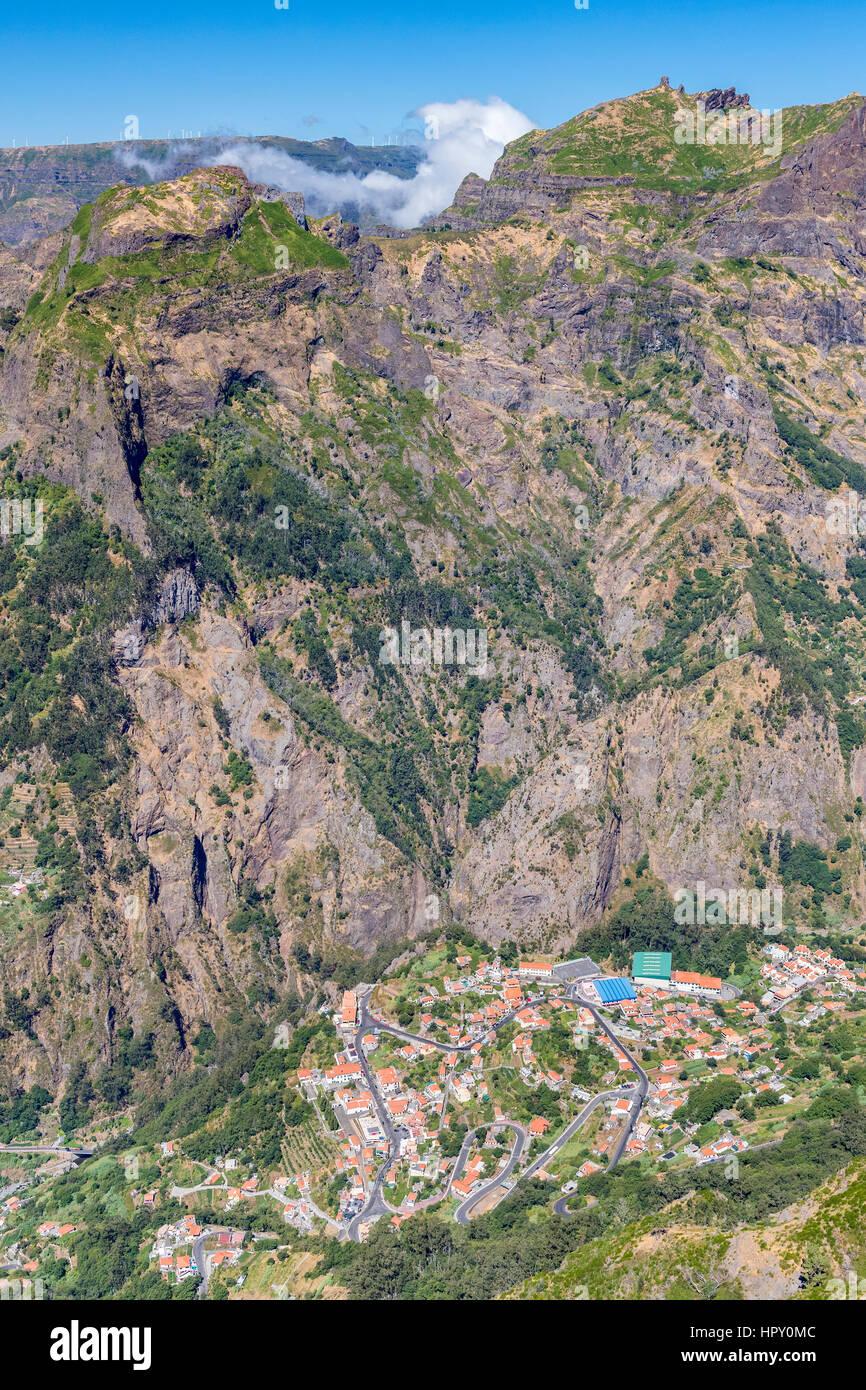 Curral das Freiras seen from Montado do Paredao West, Madeira, Portugal. - Stock Image