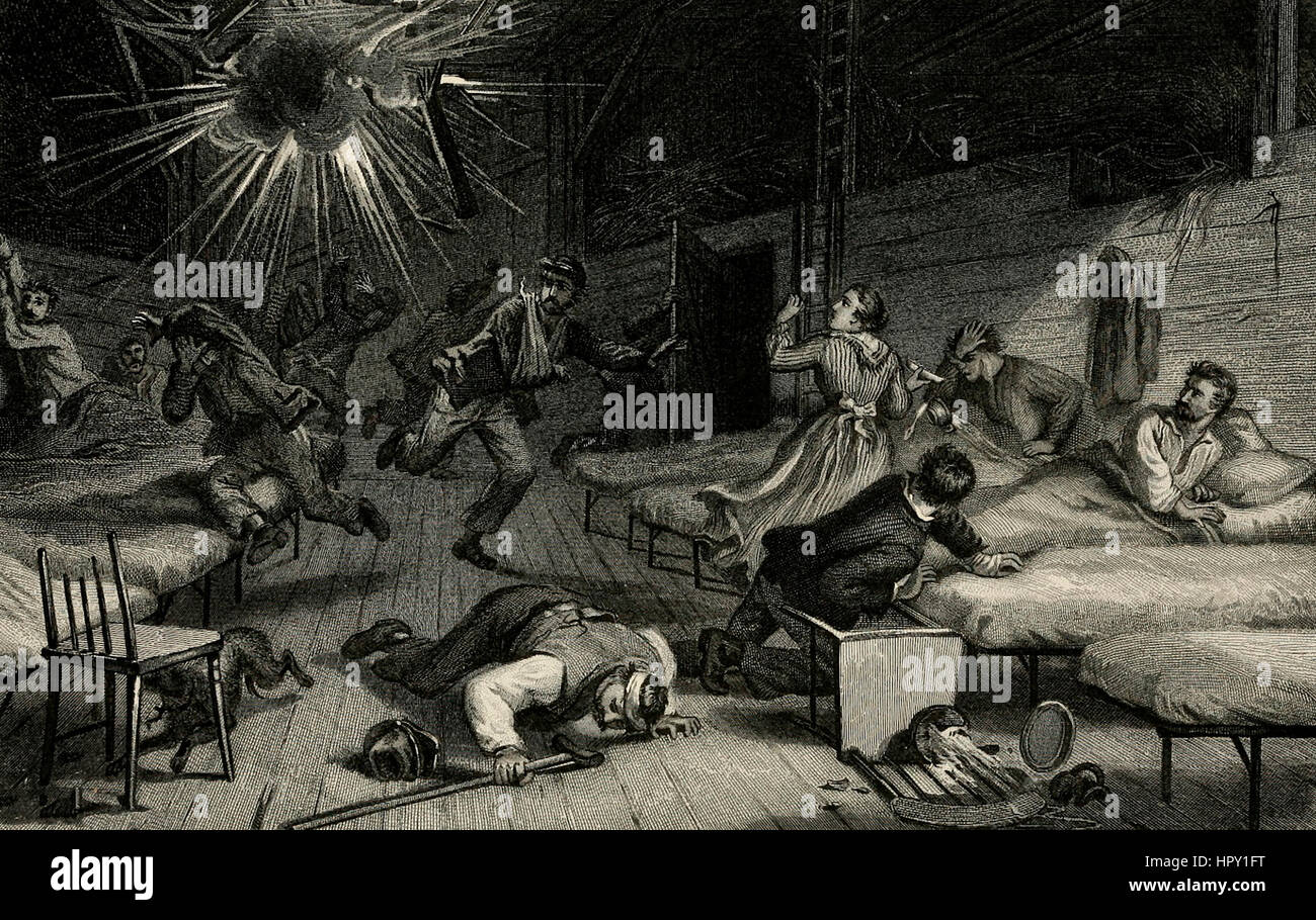 A Rebel Shell bursting in a Union Hospital - American Civil War - Stock Image