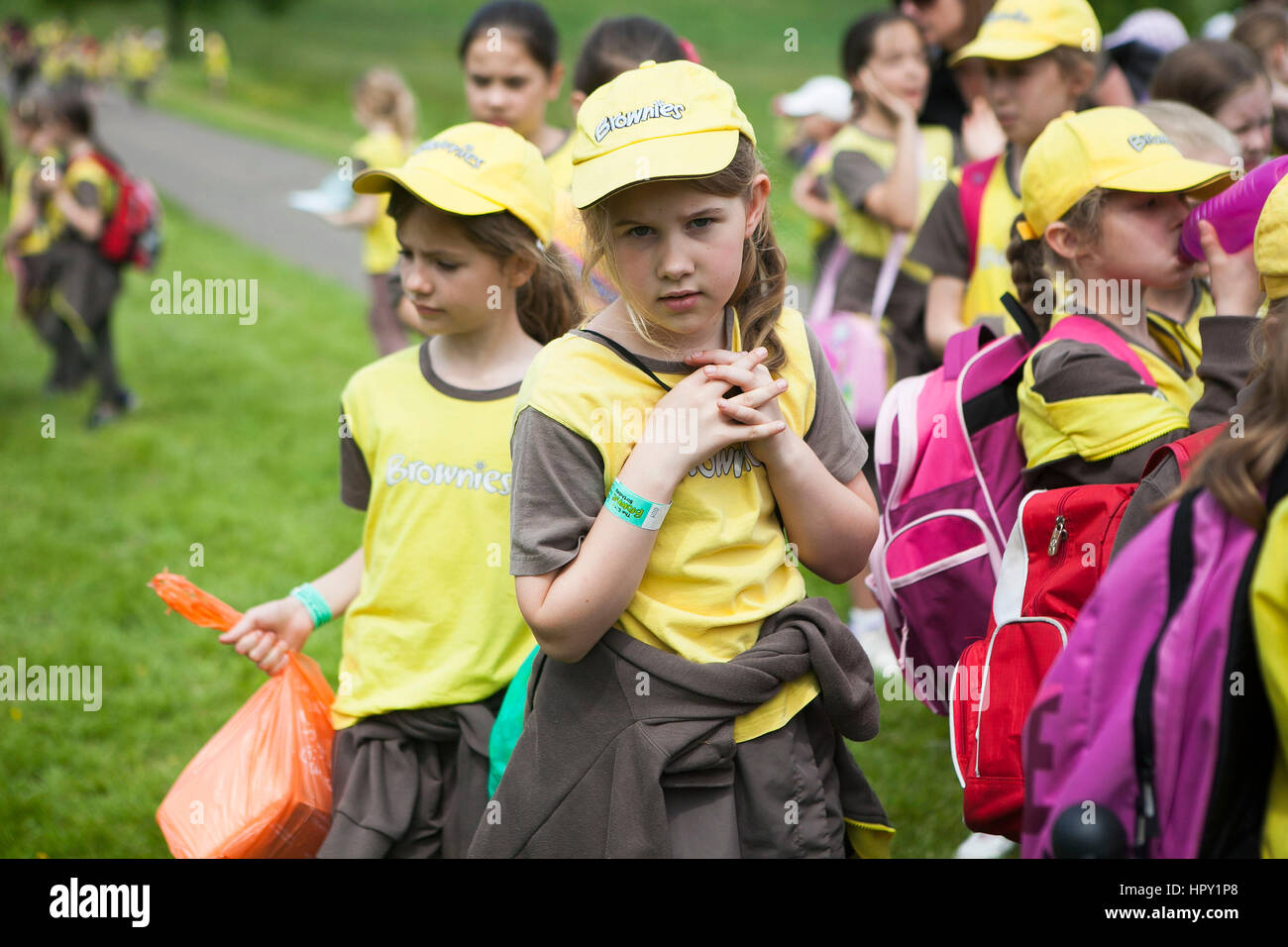 LONDON, ENGLAND - JULY 12, 2016 A portrait of a Brownie girl - Stock Image