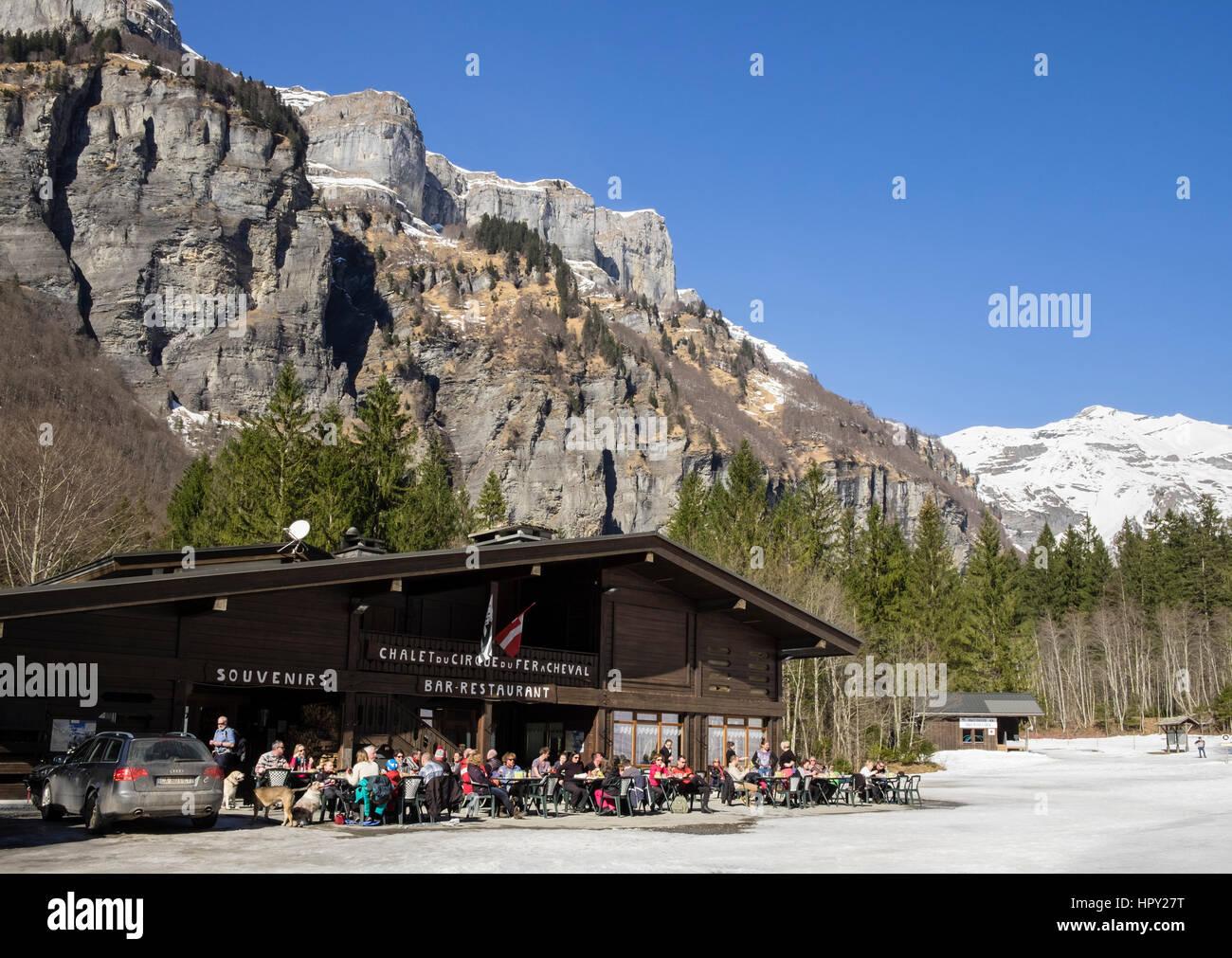 Chalet du Cirque du Fer A Cheval bar restaurant in Reserve Naturelle de Sixt Fer A Cheval in French Alps. Samoens, - Stock Image