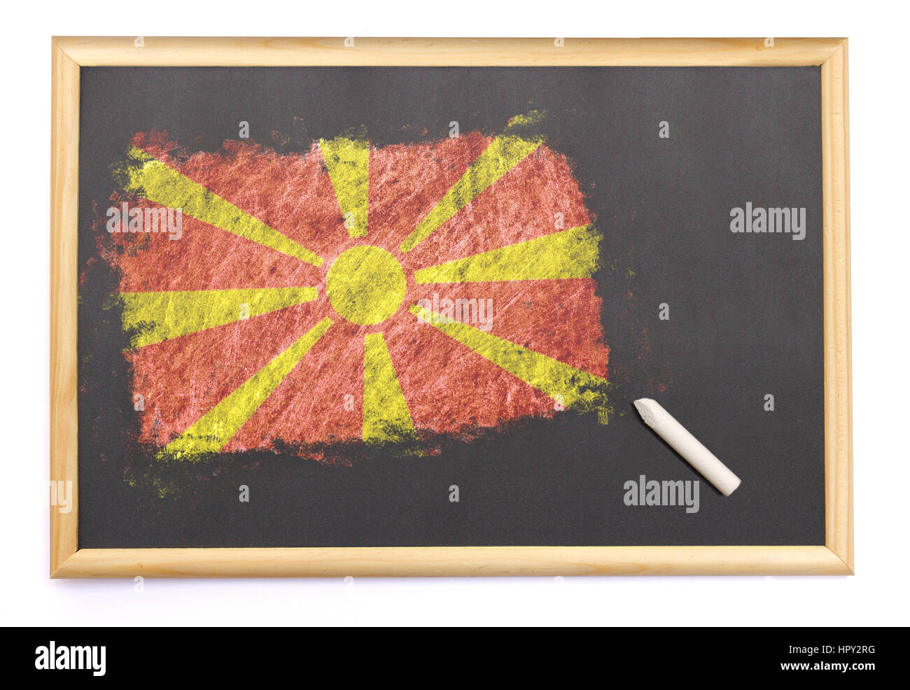 Blackboard with the national flag of Macedonia drawn on and a chalk.(series) - Stock Image