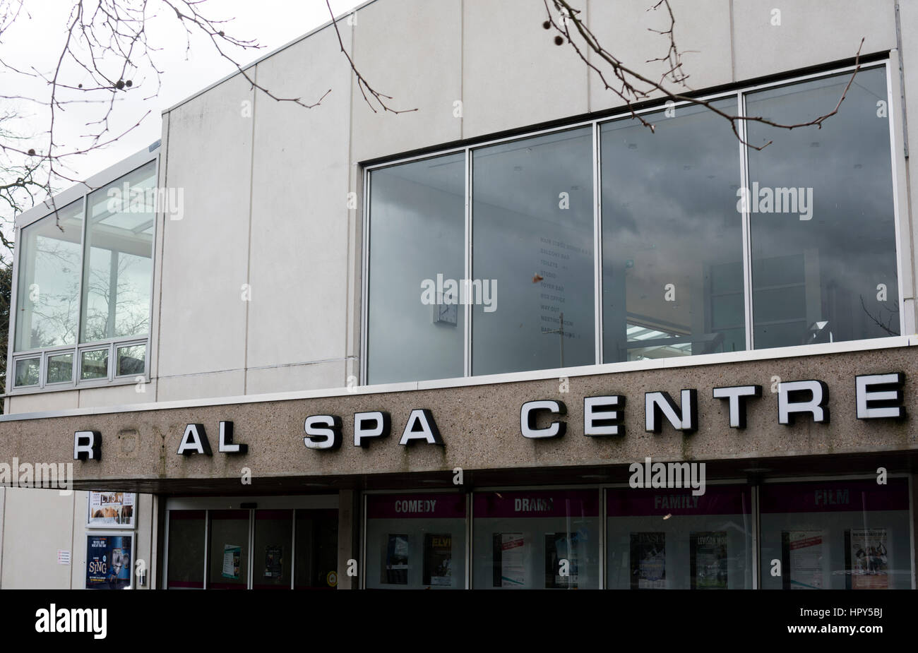 Missing letters on the Royal Spa Centre, Leamington Spa, Warwickshire, UK - Stock Image
