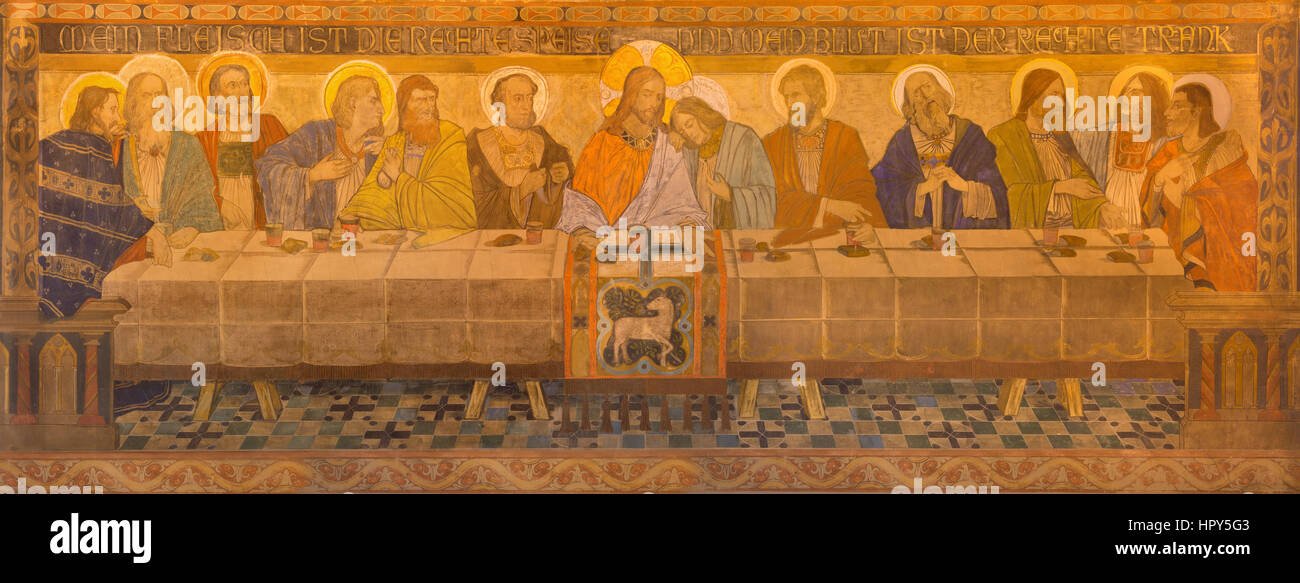 BERLIN, GERMANY, FEBRUARY - 16, 2017: The fresco of Last Supper in St. Pauls evengelical church by workroom Gathemann Stock Photo