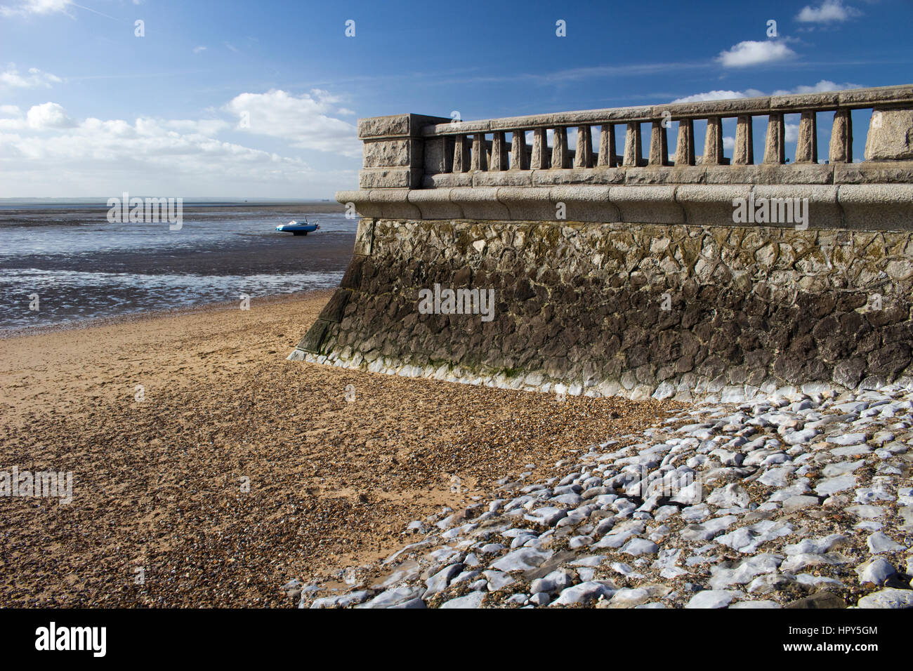Promenade wall at Westcliff, near Southend-on-Sea, Essex, England against a blue sky Stock Photo