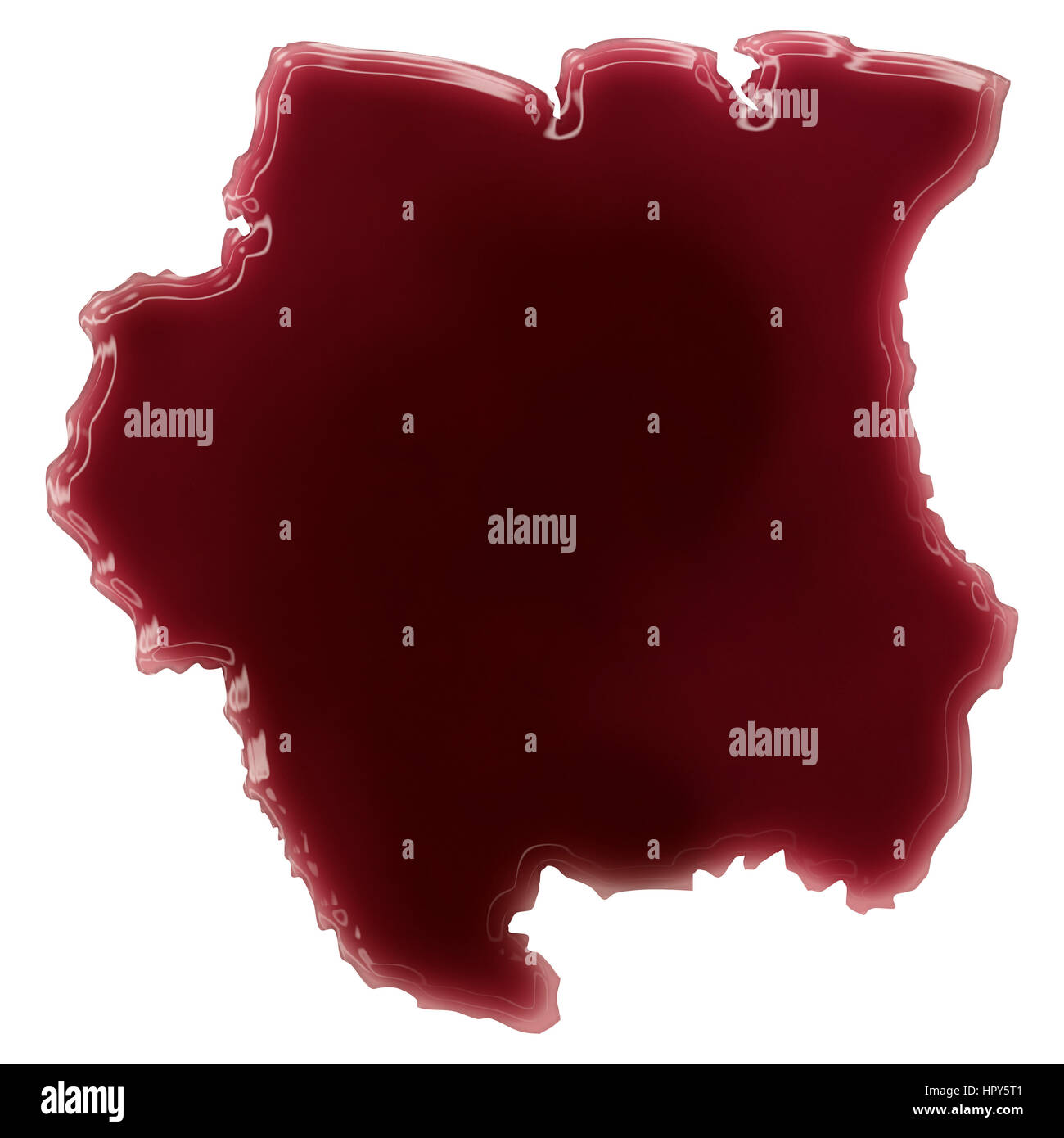 Pool of blood (or wine) that formed the shape of Suriname. (series) - Stock Image
