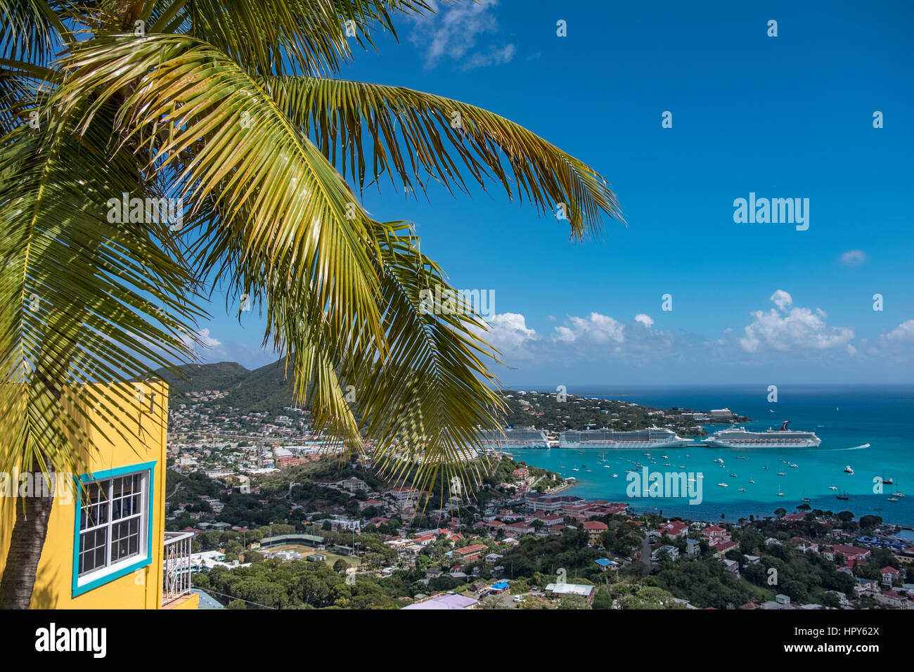 The beautiful town of Charlotte Amalie in Saint Thomas  US virgin islands in the Caribbean sea Stock Photo