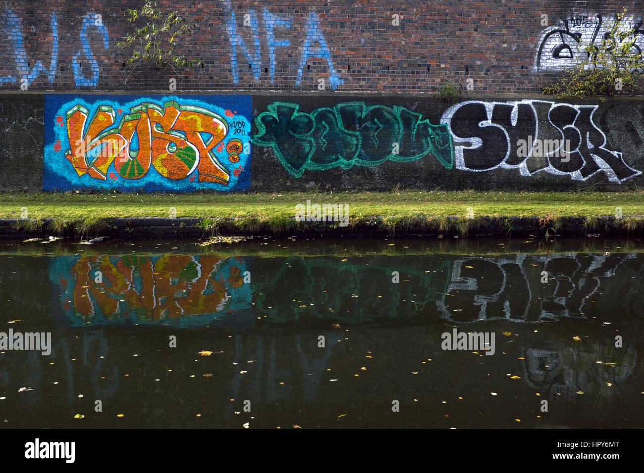 Grafitti on the Birmingham Canal Navigations (Old Main Line) towpath, Smethwick, West Midlands, England, UK - Stock Image