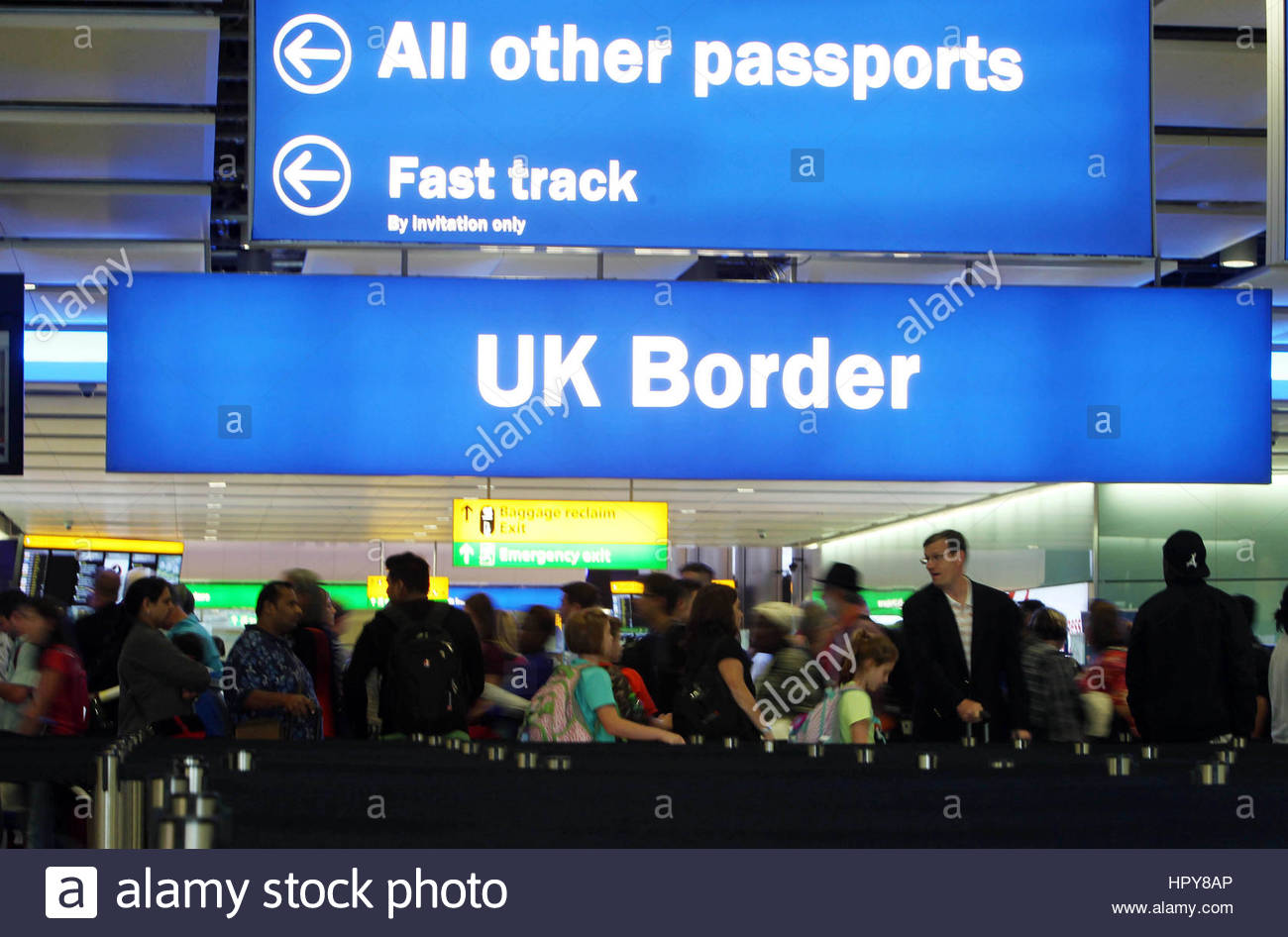 File photo dated 22/07/15 of passengers going through the UK Border at Terminal 2 of Heathrow Airport. Ministers Stock Photo