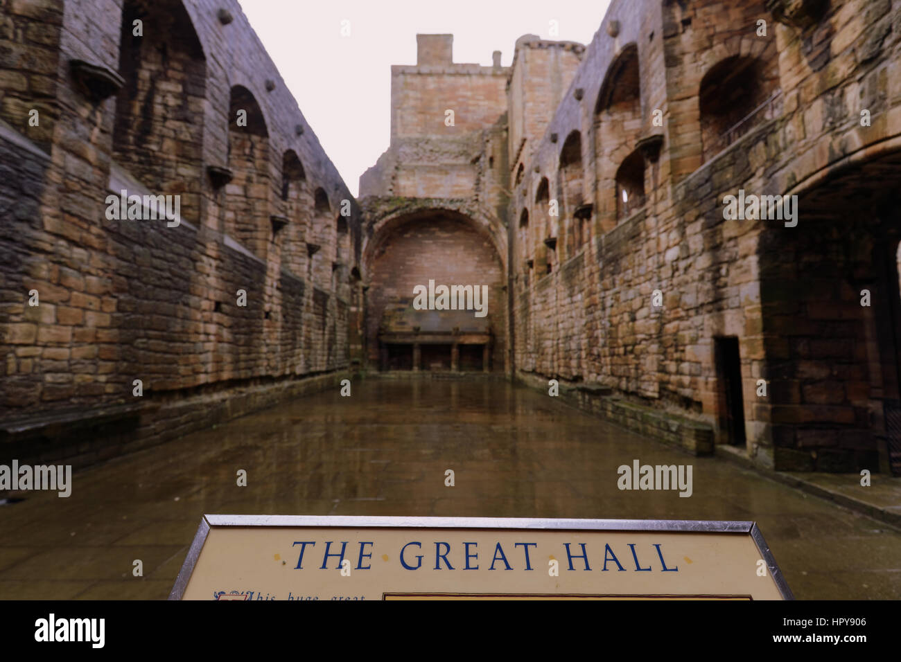 the great hall inside linlithgow palace the birthplace of Mary queen of scots Stock Photo