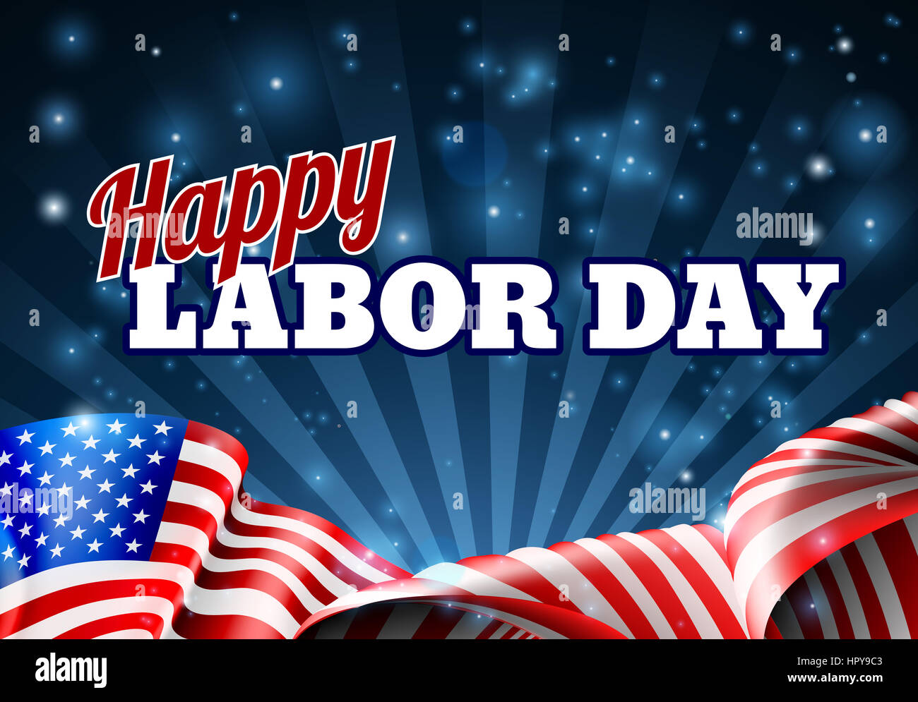a happy labor day background design with an american flag banner