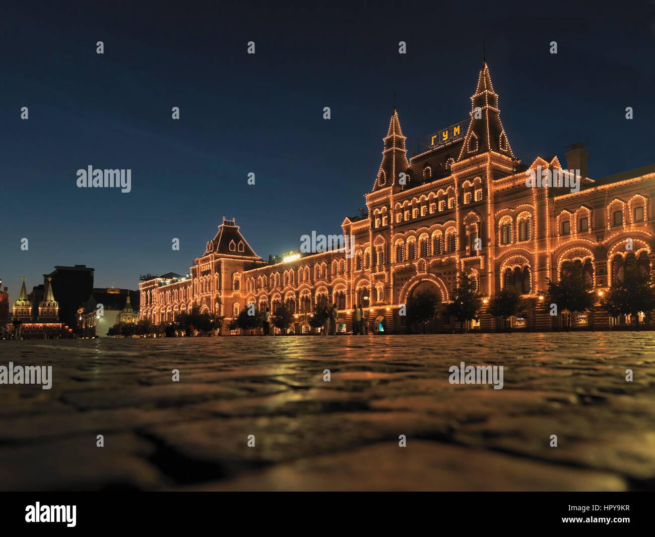 Kaufhaus GUM, Glavnyi Universalnyi Magazin, am Roten Platz im Geschäftsviertel Kitai-Gorad, Moskau, Russland, - Stock Image