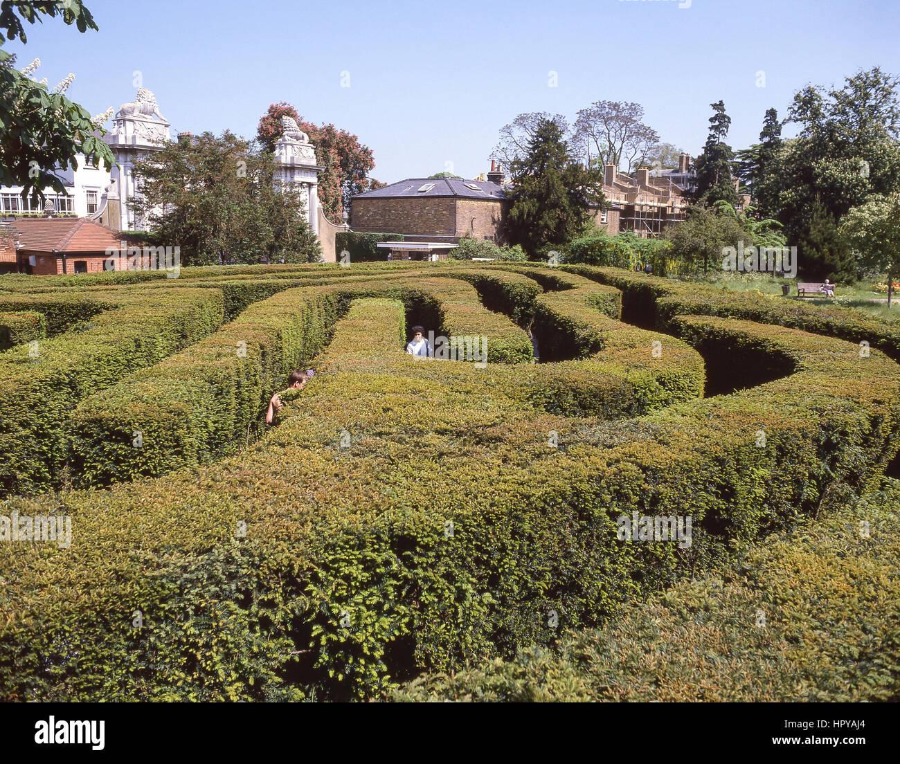 The Maze at Hampton Court Palace, Hampton, London Borough of Richmond upon Thames, Greater London, England, United - Stock Image