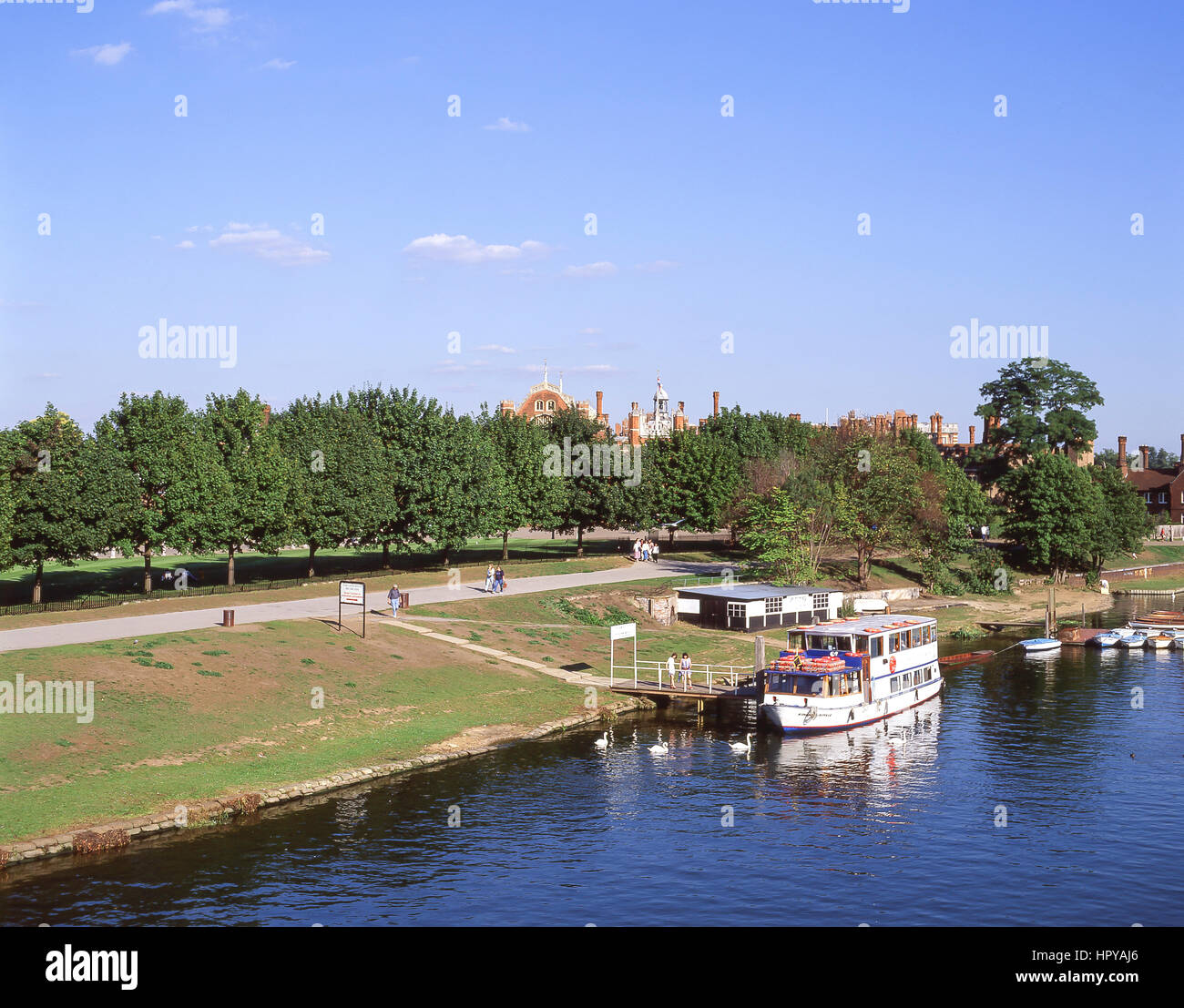 Ferry boat at Thames landing for Hampton Court Palace, Hampton, Borough of Richmond upon Thames, Greater London, - Stock Image