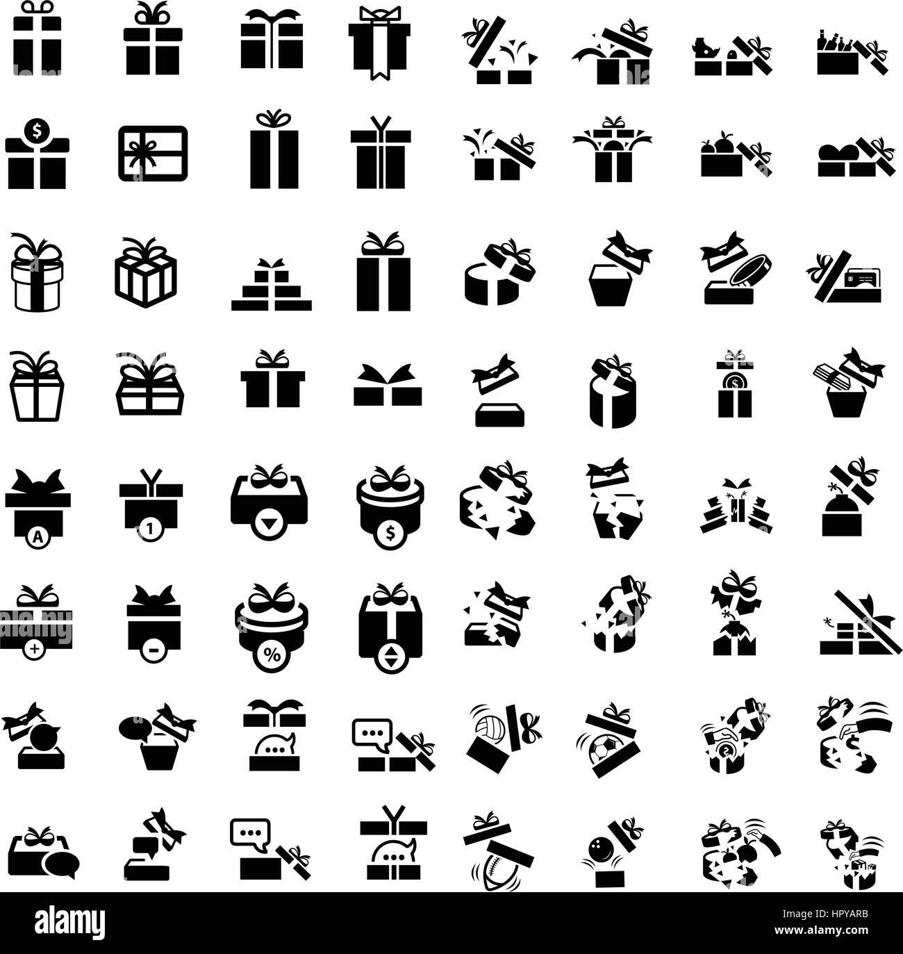 Set Black Gift Box Icons Set 64 Item Stock Vector Image Art Alamy