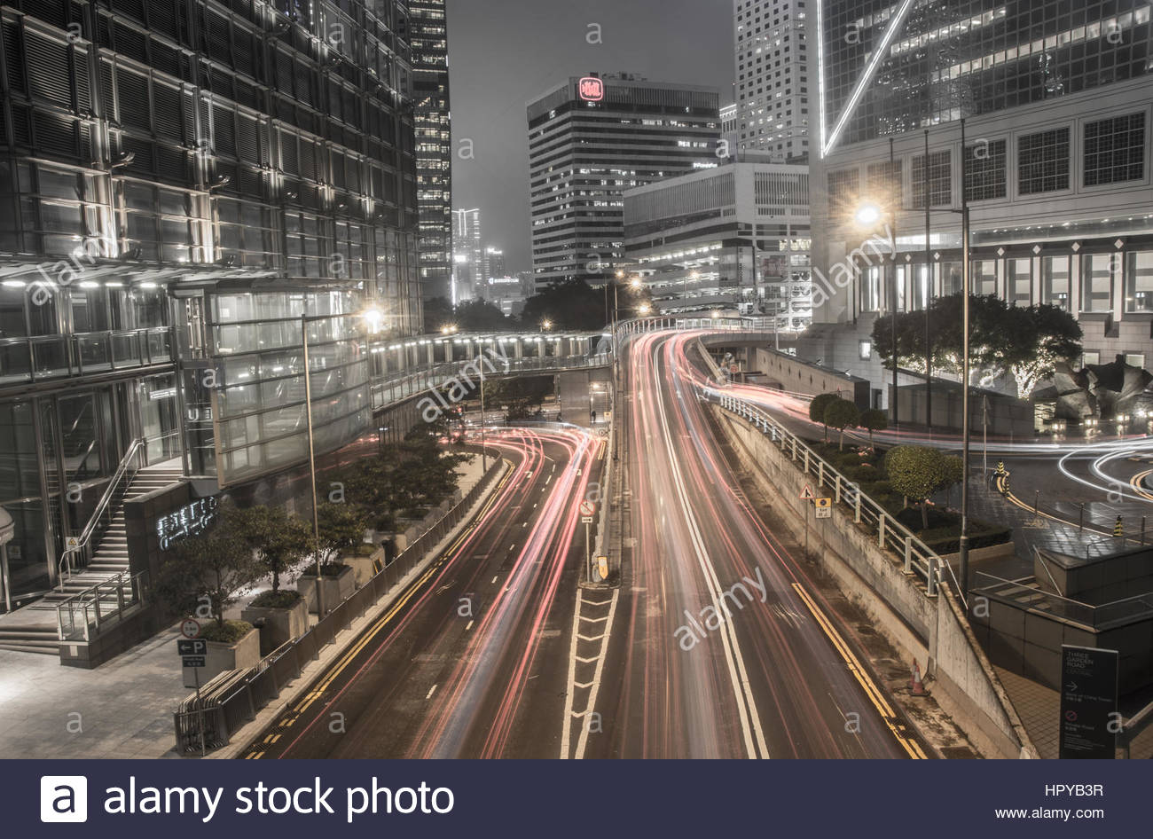 Light Trails in Hong Kong - Stock Image