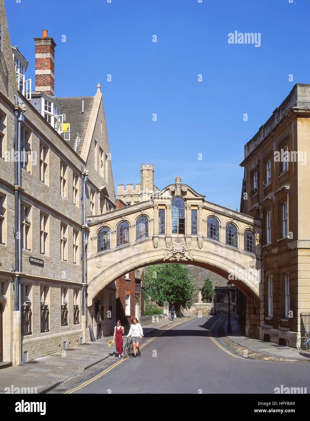 The Bridge of Sighs (Hertford Bridge), New College Lane, Oxford, Oxfordshire, England, United Kingdom - Stock Image