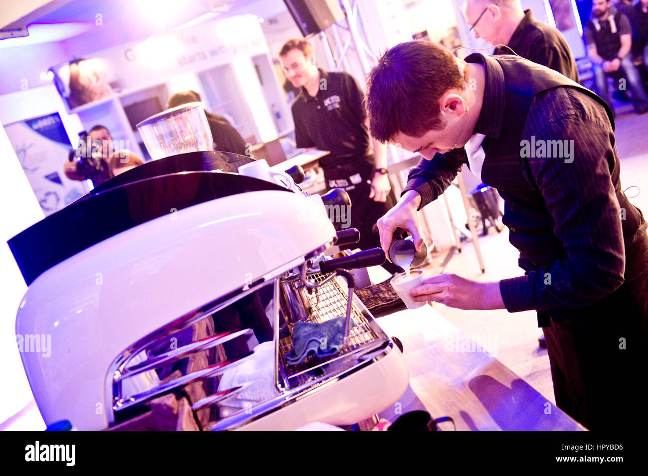 UK Barista championships - Sam Dunford and his coffee cocktail ..London Coffee Festival 2012 , Truman Brewery , Stock Photo