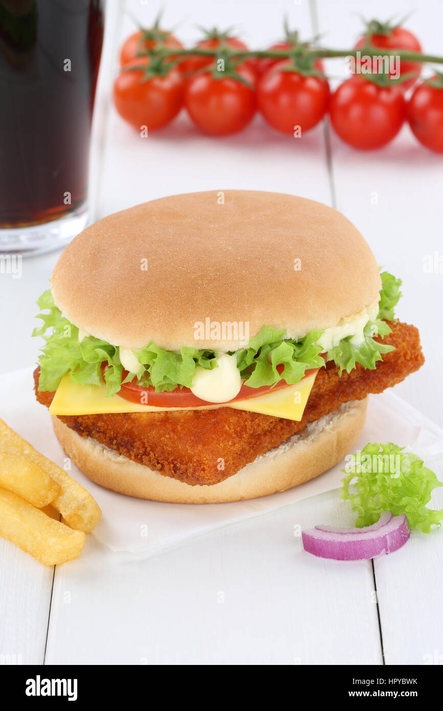 Fish burger fishburger hamburger menu meal cola drink fast food - Stock Image
