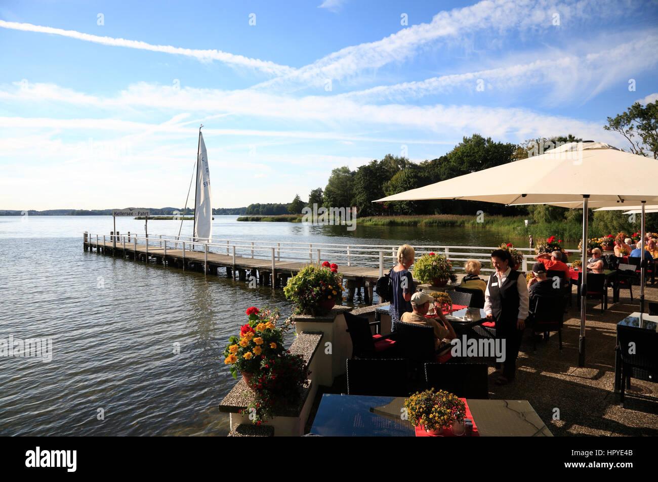 Fährhaus (ferry  house) Sielbeck-Uklei at lake Kellersee near Malente, Schleswig-Holstein, Germany, Europe - Stock Image