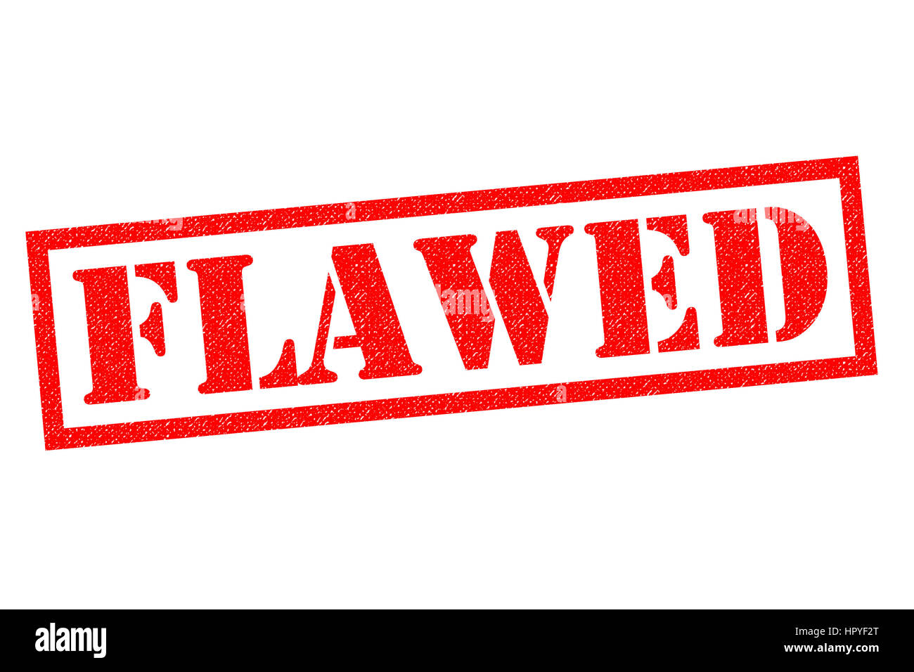 FLAWED red Rubber Stamp over a white background. Stock Photo