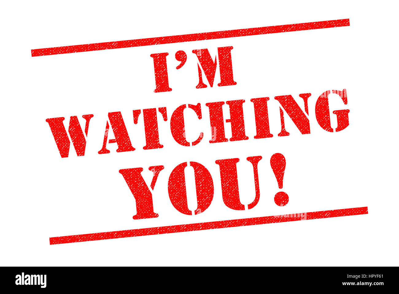 IM WATCHING YOU! red Rubber Stamp over a white background. - Stock Image