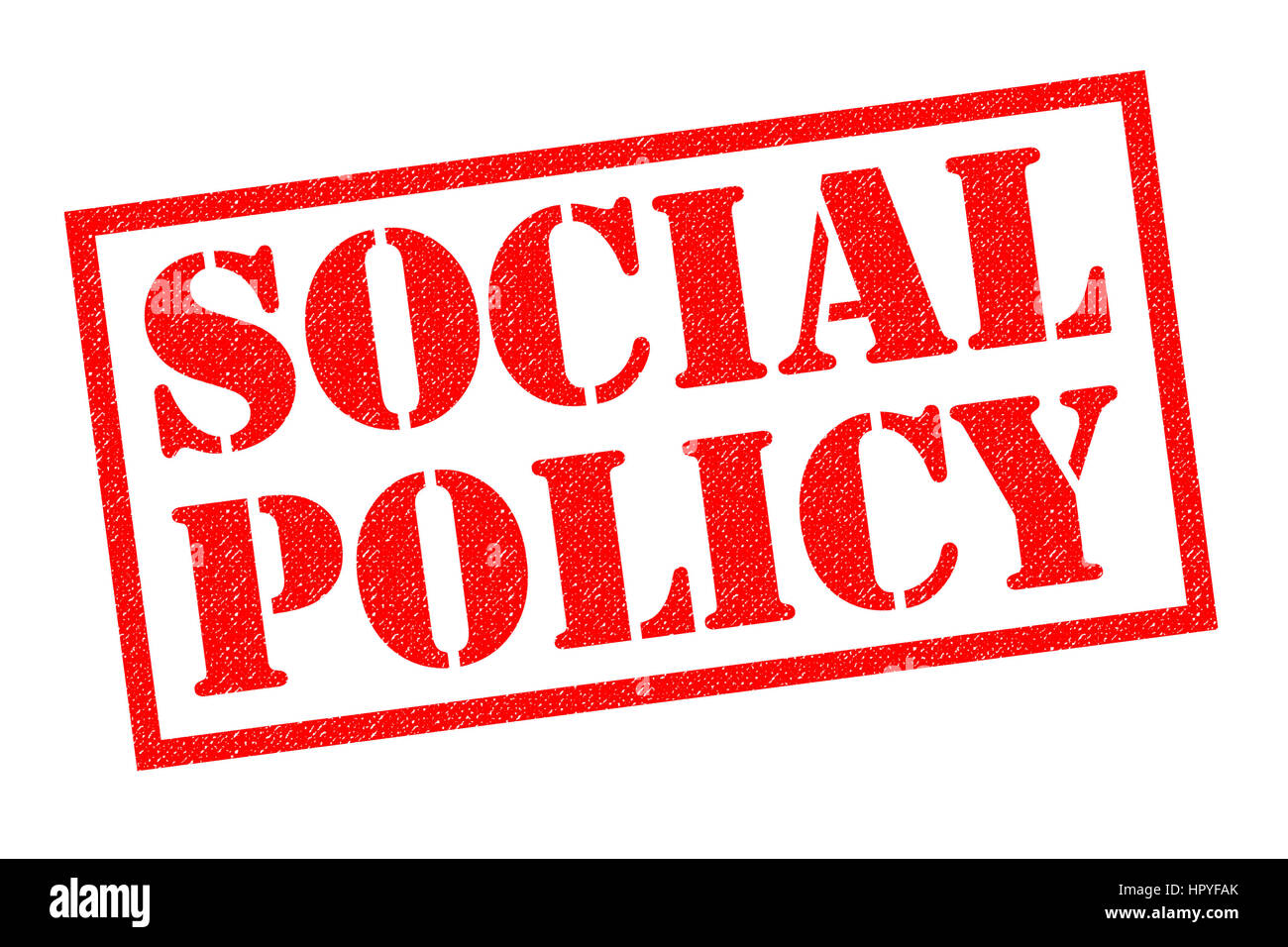 SOCIAL POLICY red Rubber Stamp over a white background. Stock Photo