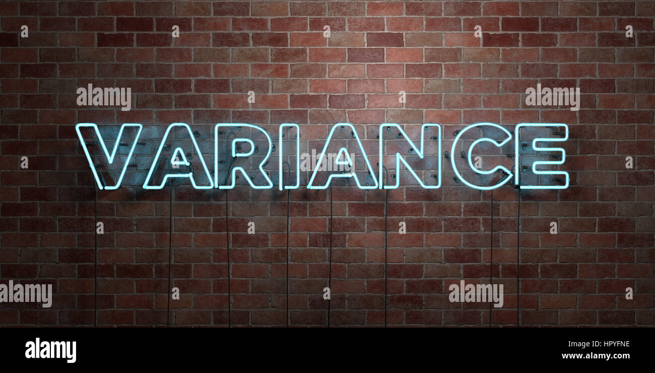 VARIANCE - fluorescent Neon tube Sign on brickwork - Front view - 3D rendered royalty free stock picture. Can be - Stock Image