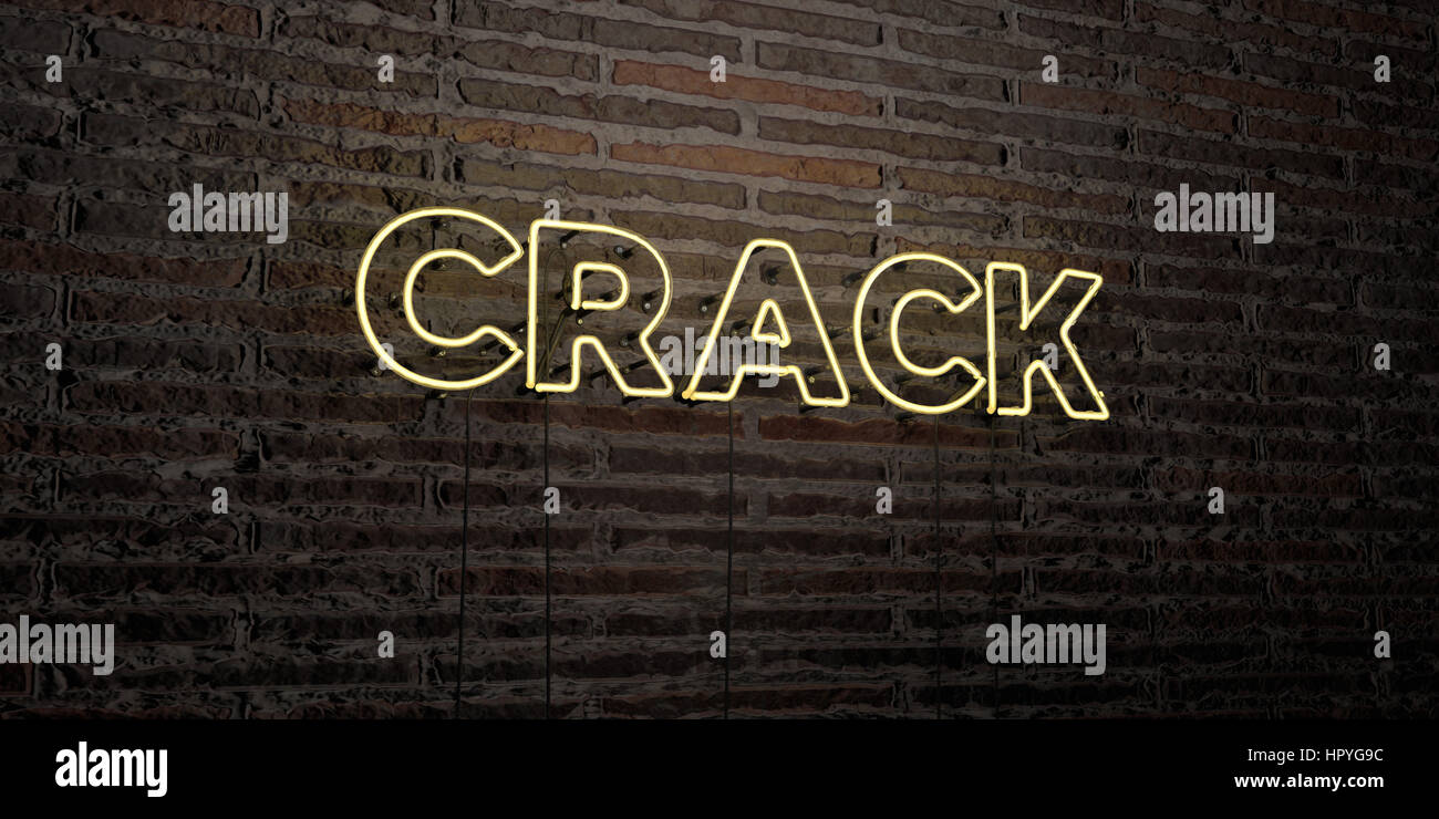 Crack Realistic Neon Sign On Brick Wall Background 3d