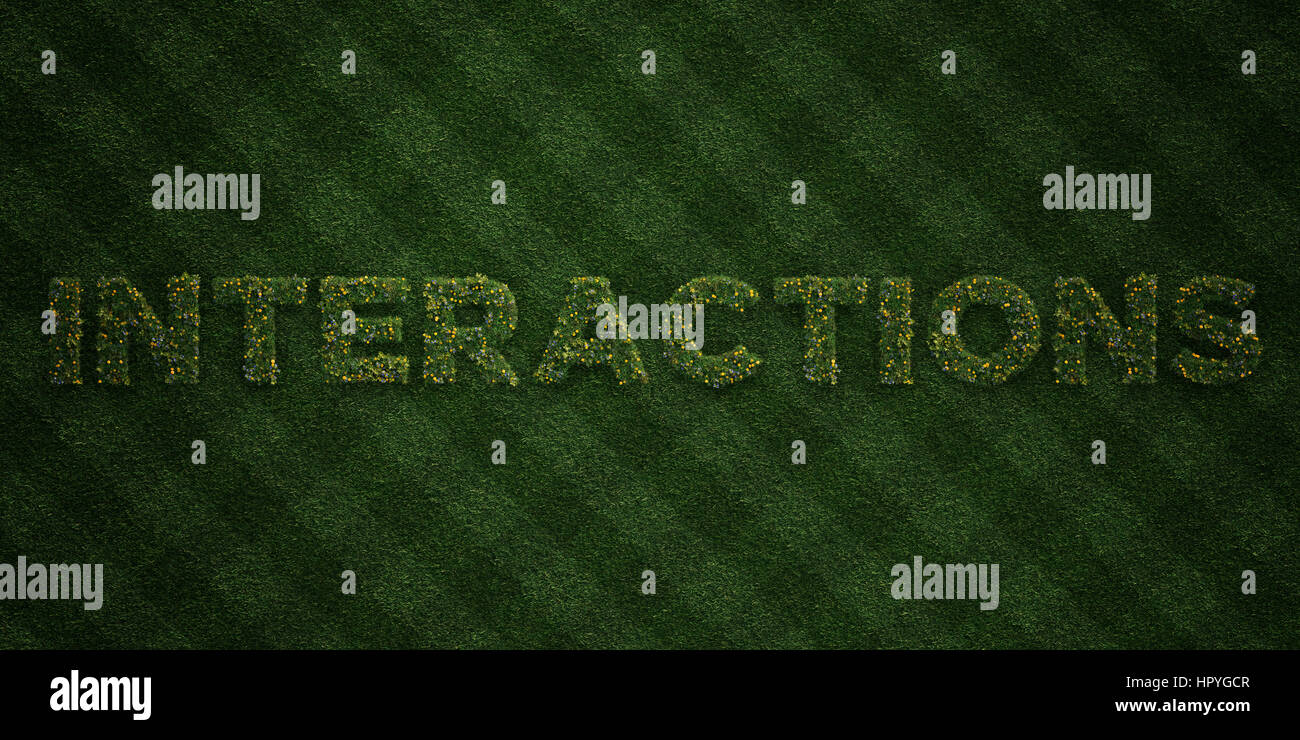 INTERACTIONS - fresh Grass letters with flowers and dandelions - 3D rendered royalty free stock image. Can be used - Stock Image