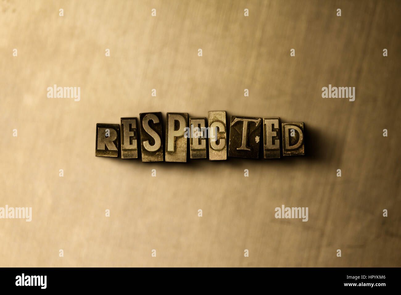 RESPECTED - close-up of grungy vintage typeset word on metal backdrop. Royalty free stock - 3D rendered stock image. - Stock Image