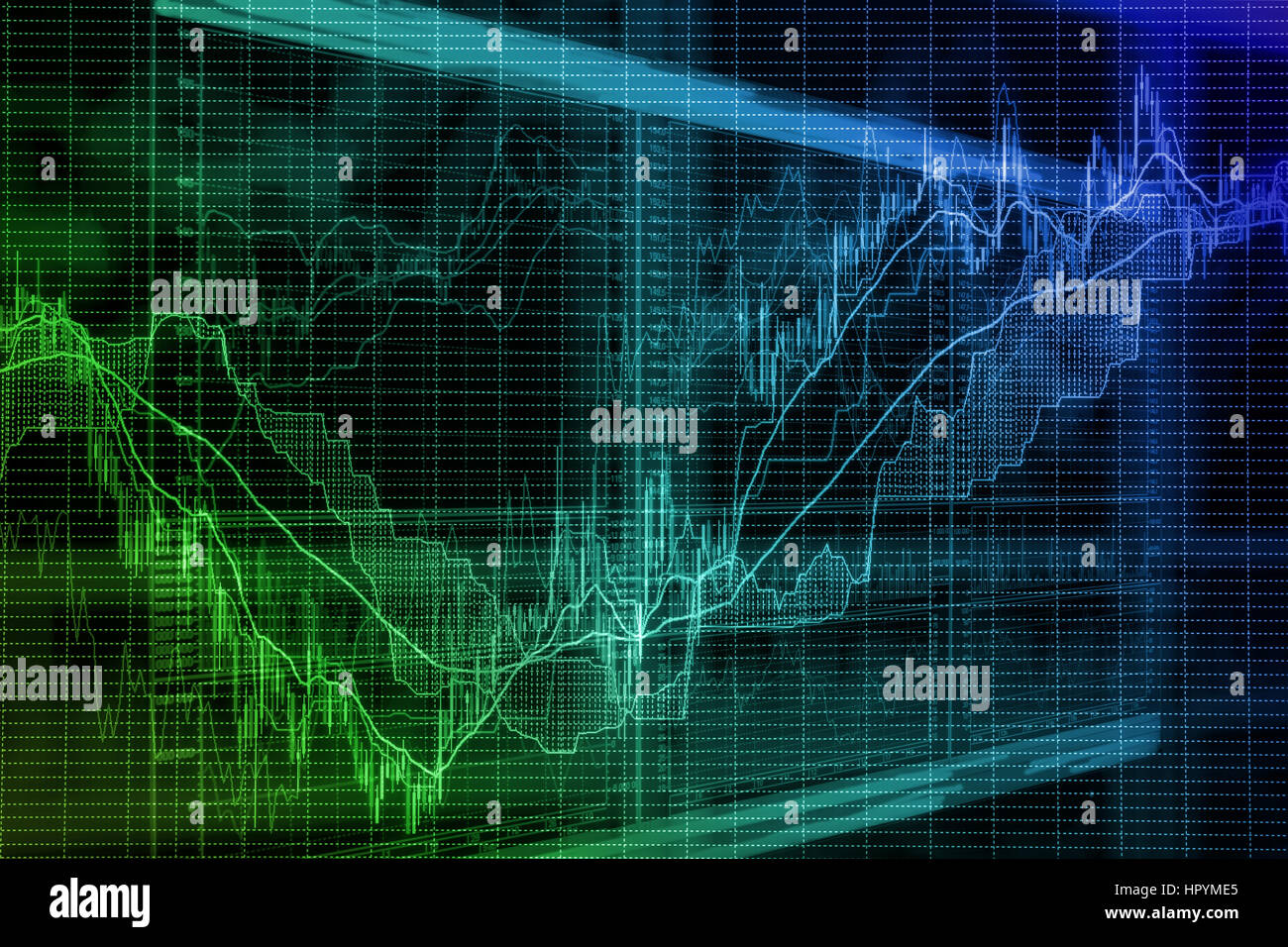 Abstract blurred background based on stock market graphs on the screen. Stock exchange activity and exchange rates - Stock Image