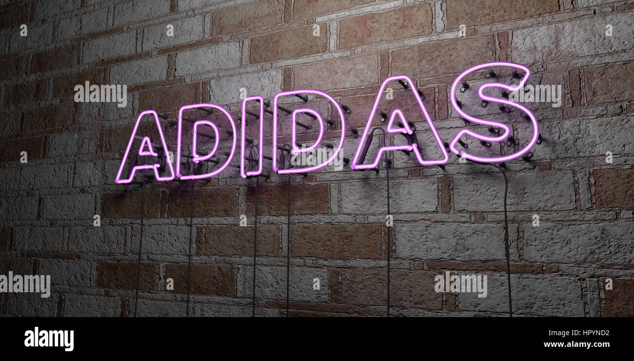 Adidas Glowing Neon Sign On Stonework Wall 3d Rendered Royalty Stock Photo Alamy