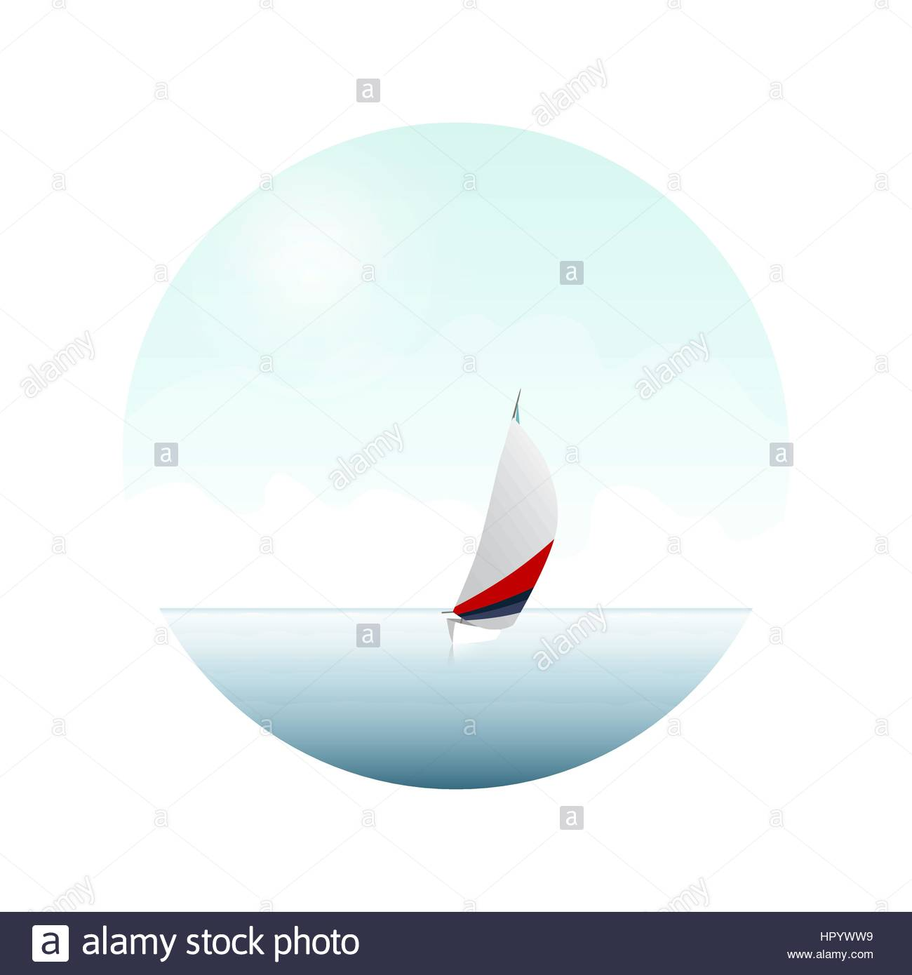 Sailing boat on the blue sea. Yacht and ocean. - Stock Image