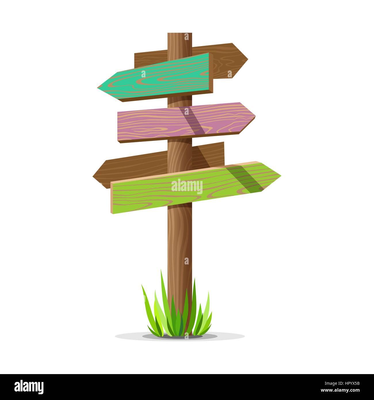 Colored wooden arrow empty vector signboard - Stock Image