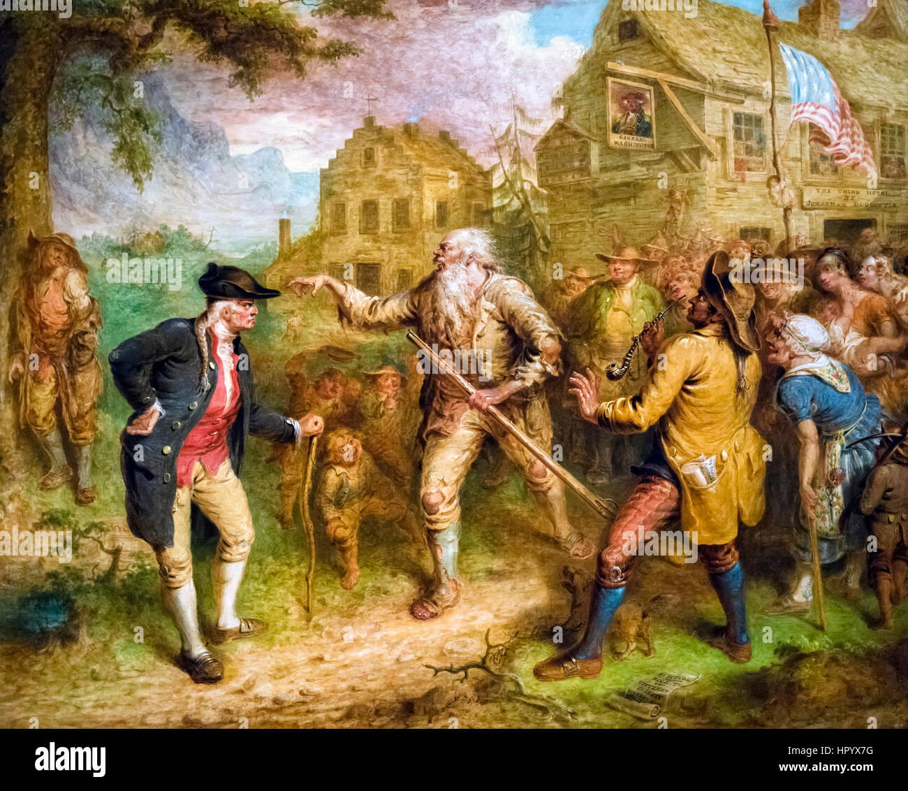 The Return of Rip Van Winkle by John Quidor (1801-1881), oil on canvas, c.1849. Illustration of the Washington Irving - Stock Image