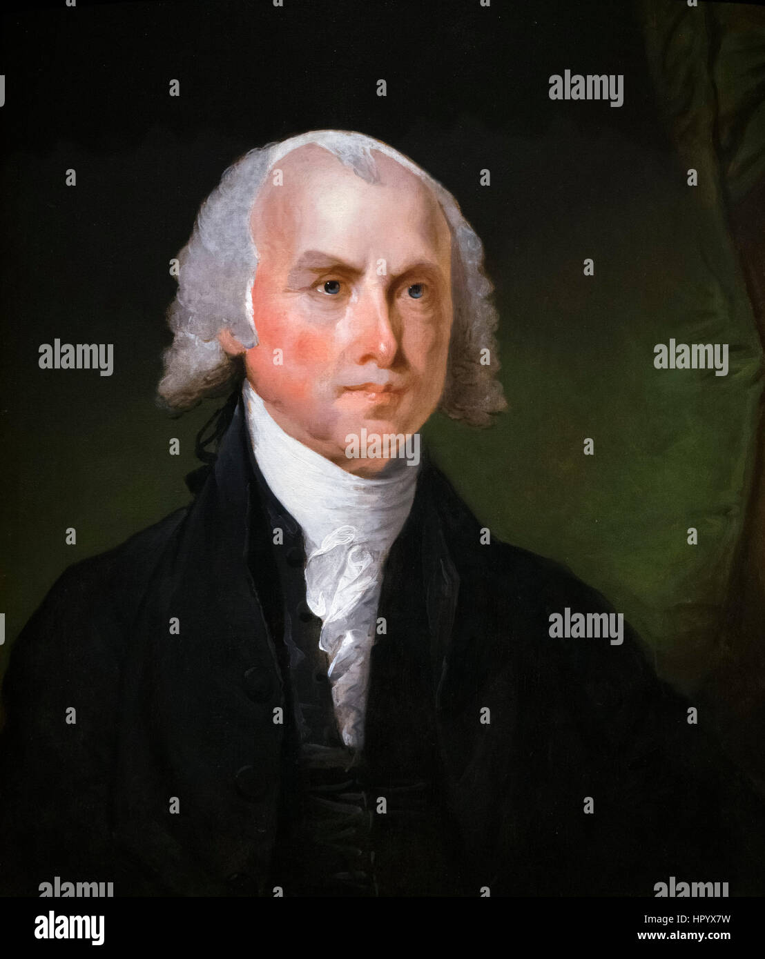James Madison. Portrait of the 4th US President, James Madison (1751-1836) by Gilbert Stuart, oil on wood, c.1821 - Stock Image