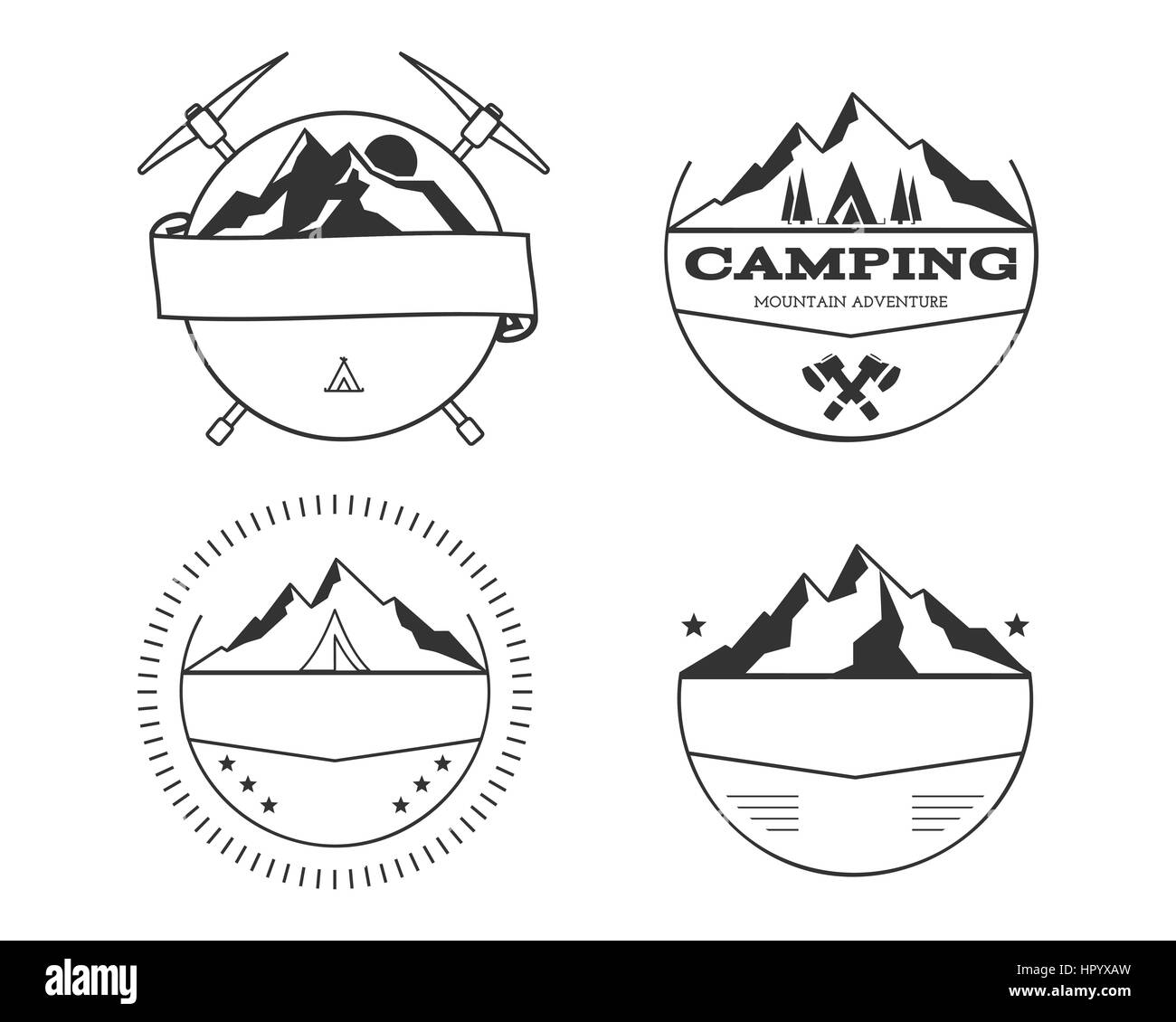 Set of blank vintage summer camp badges and outdoor logo