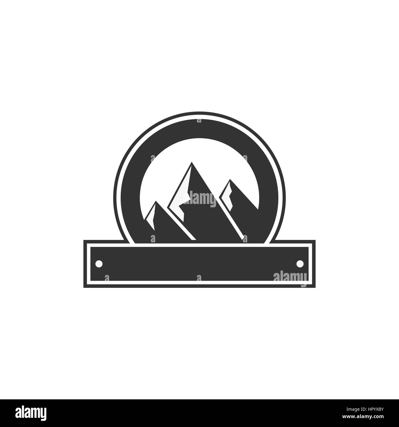Vector Blank Badge Form With Mountains Good For Retro Adventure Labels Logos Vintage Silhouette Insignia Design Isolated On White Background