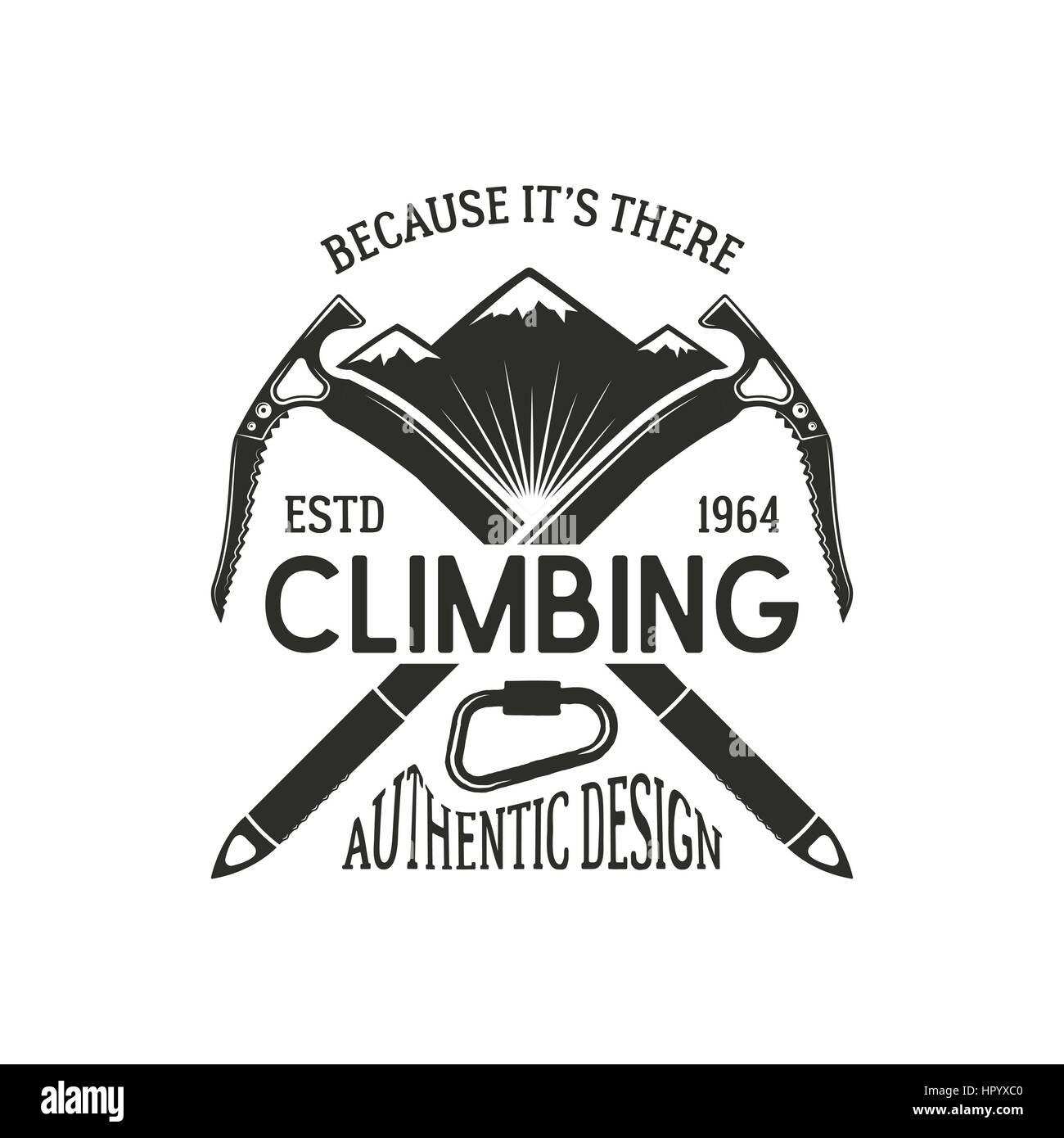 Vintage climbing badge. Climbing logo, vintage vector emblem. Climb gear - carabiner and text. Retro t shirt design. Stock Vector